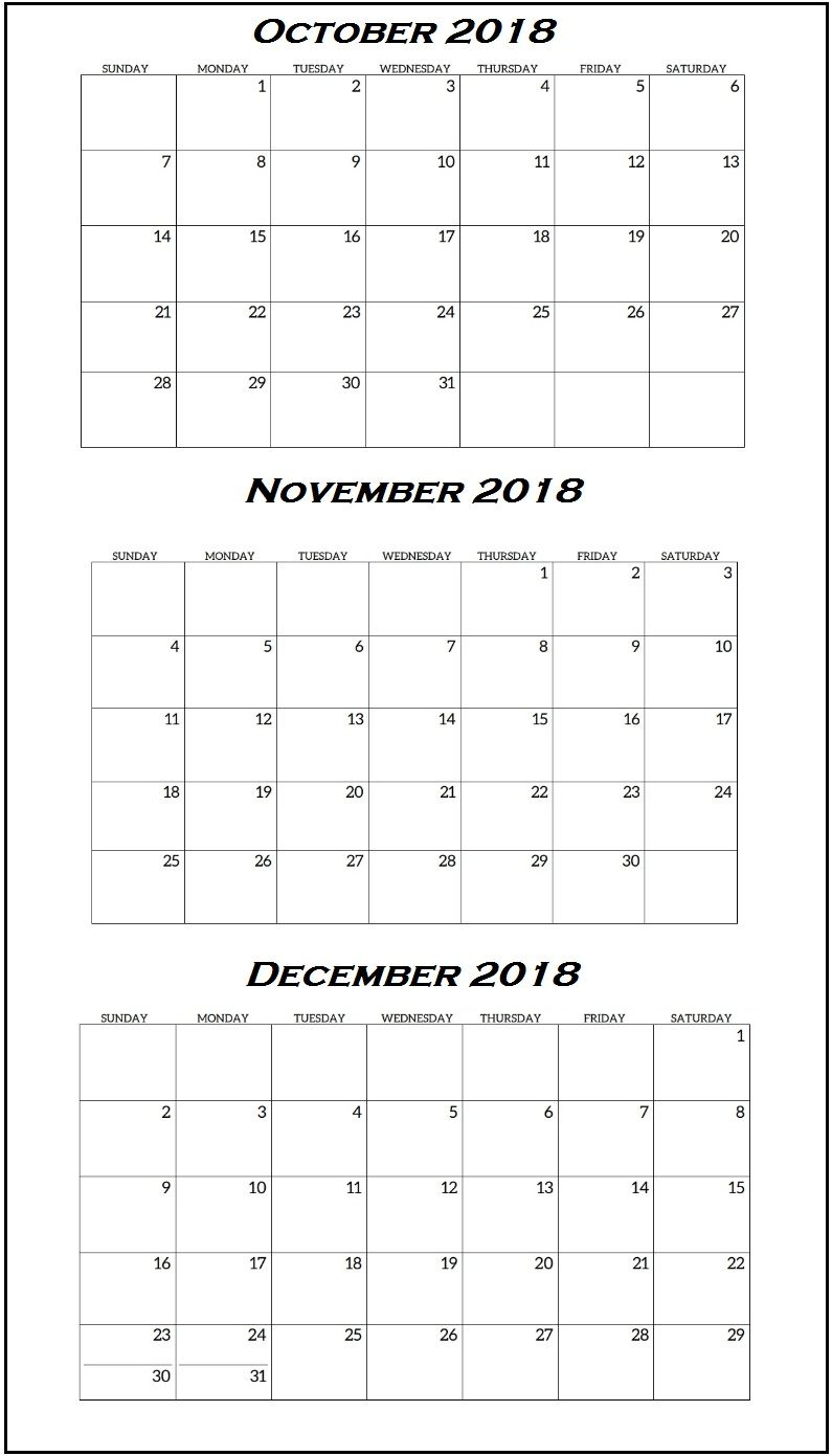 Quarterly Calendar October To December 2018 | Free Calendars