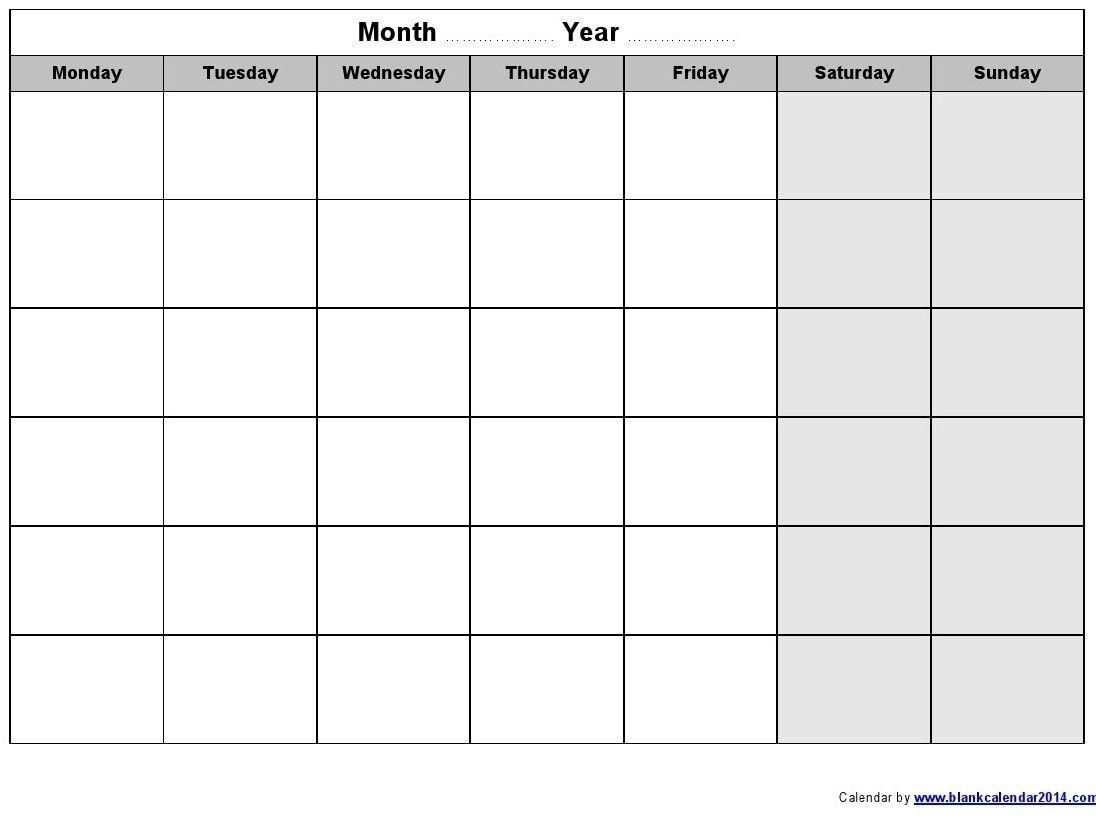 Remarkable Empty Calendar Template Monday Start In 2020