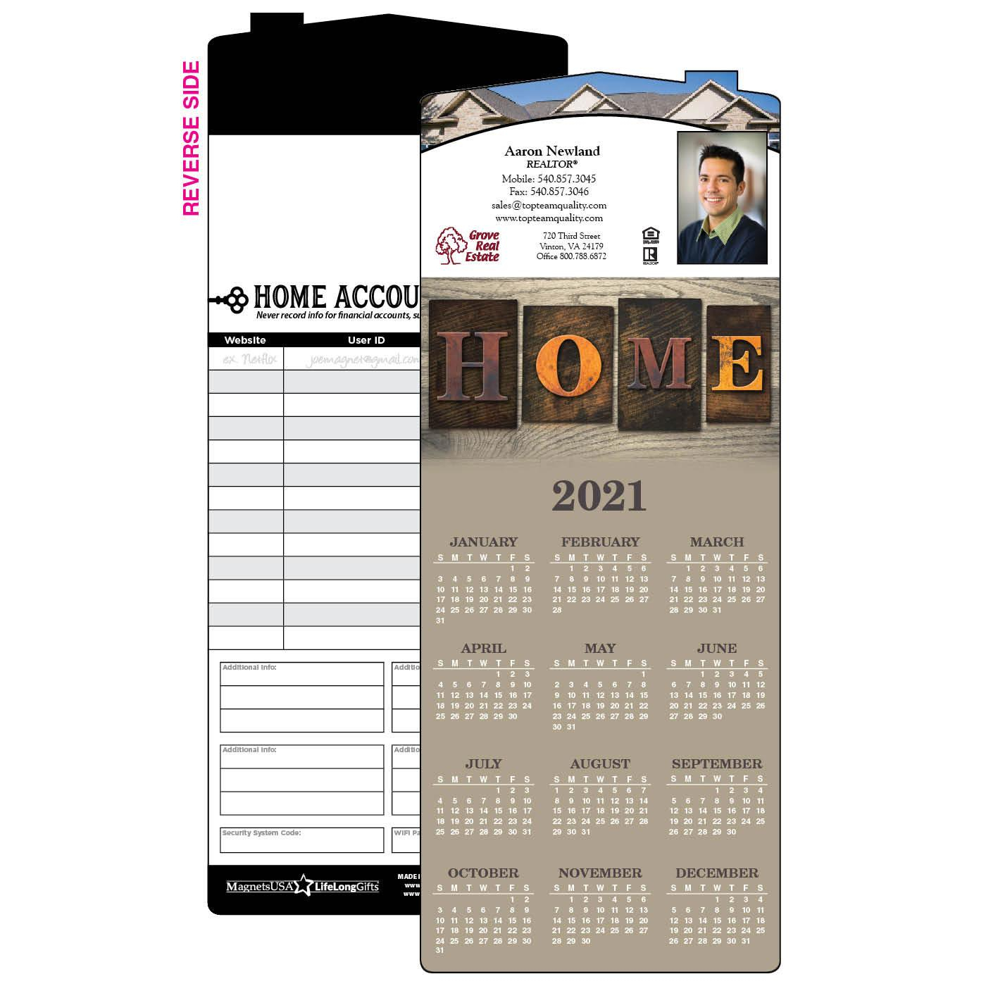 Rustic Home Year-At-A-Glance Calendar Magnet | House Shape