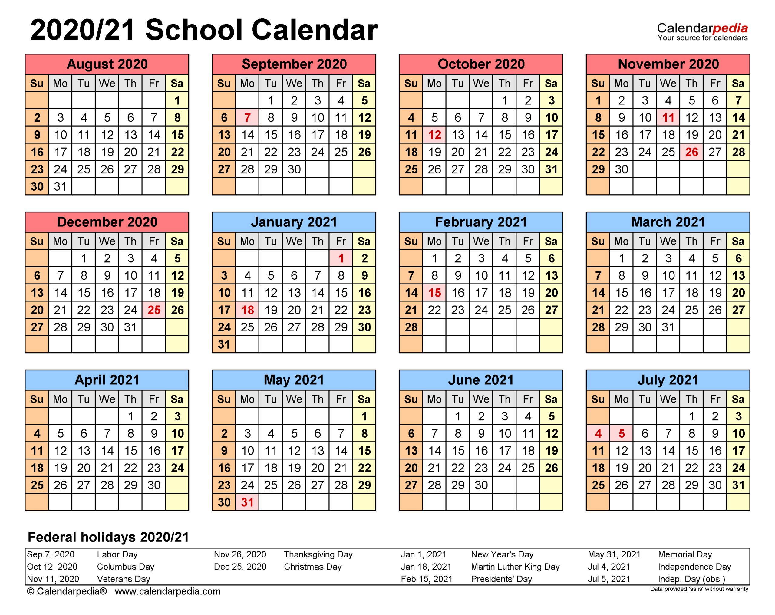 School Calendars 20202021 - Free Printable Excel Templates