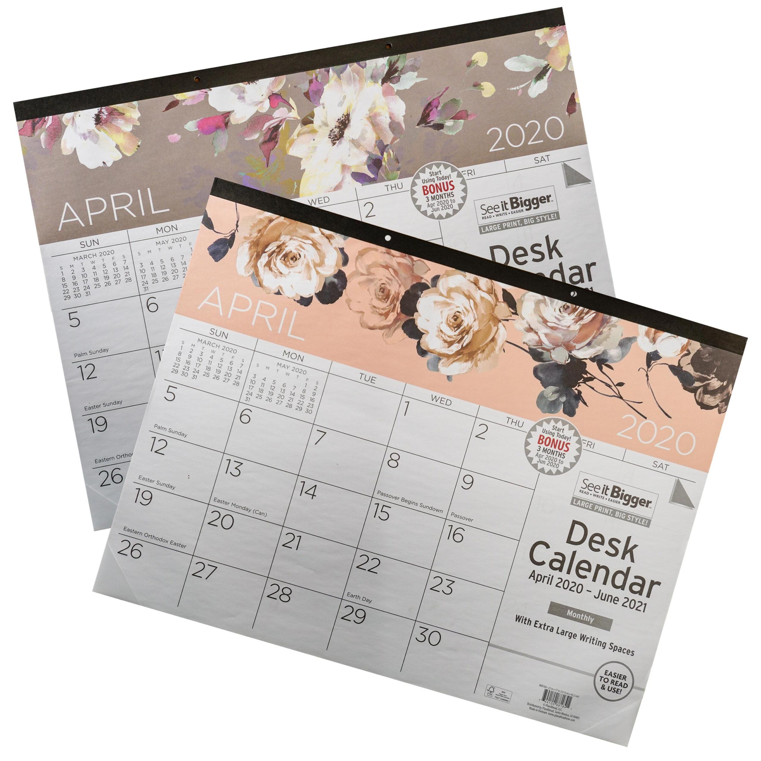 "See It Bigger Deskpad Calendar Apr 2020-Jun 2021 Monthly 17""X22"" -  Walmart"