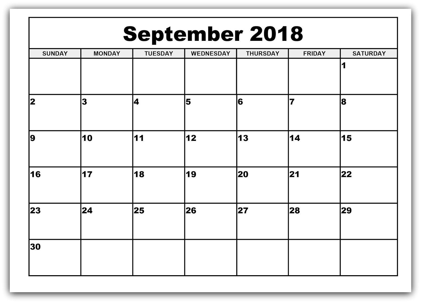 September 2018 Calendar Free Printable Bold Style | Calendar