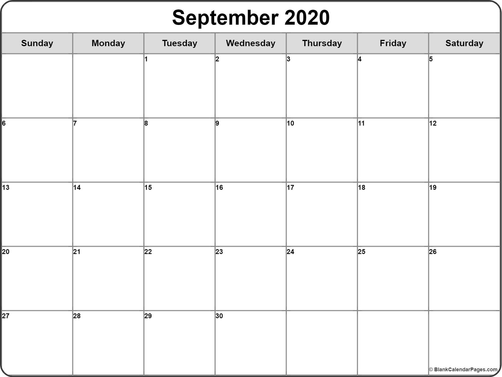 September 2020 Calendar   Free Printable Monthly Calendars