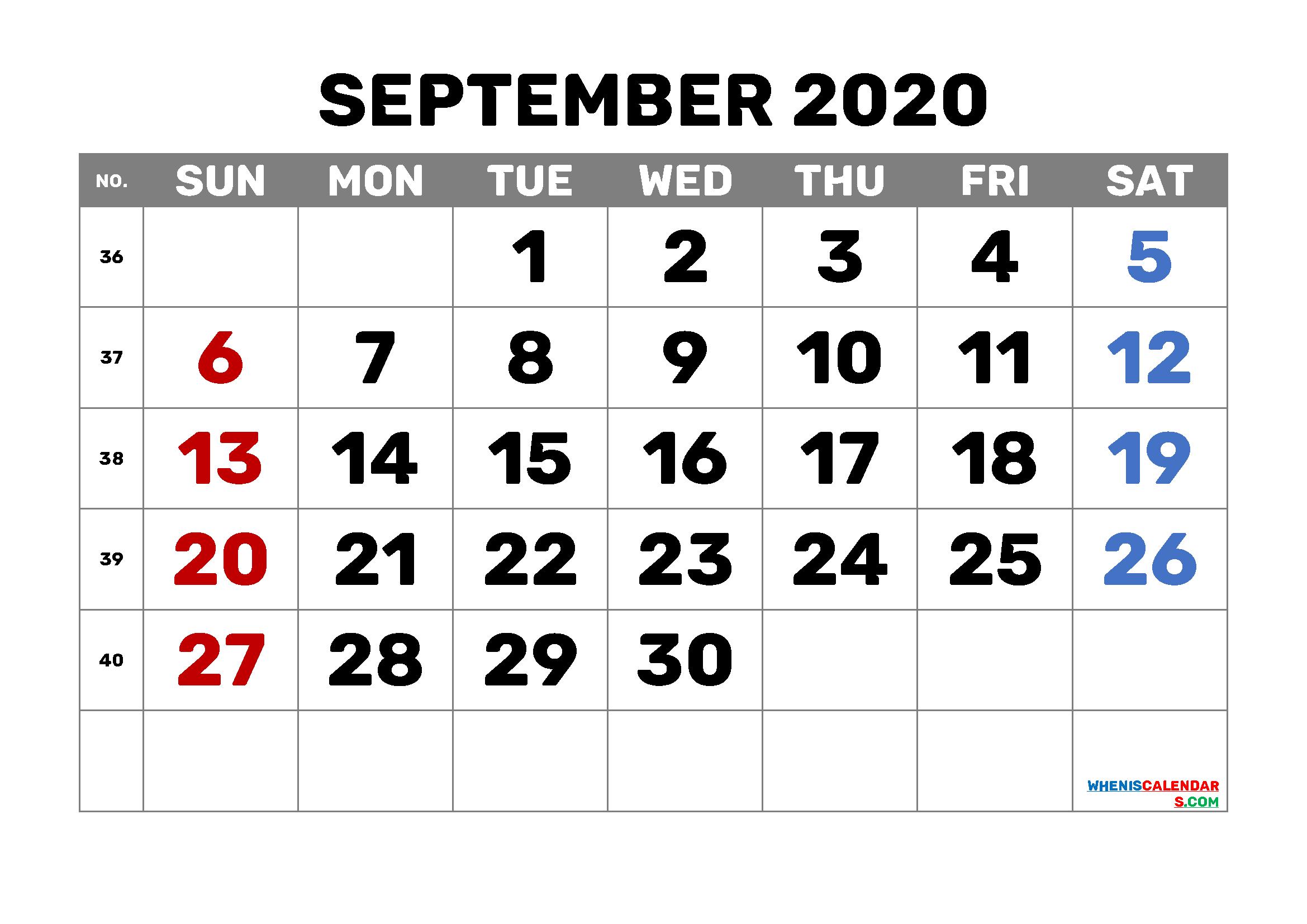 September 2020 Calendar Printable Free 6 Templates (Pdf And