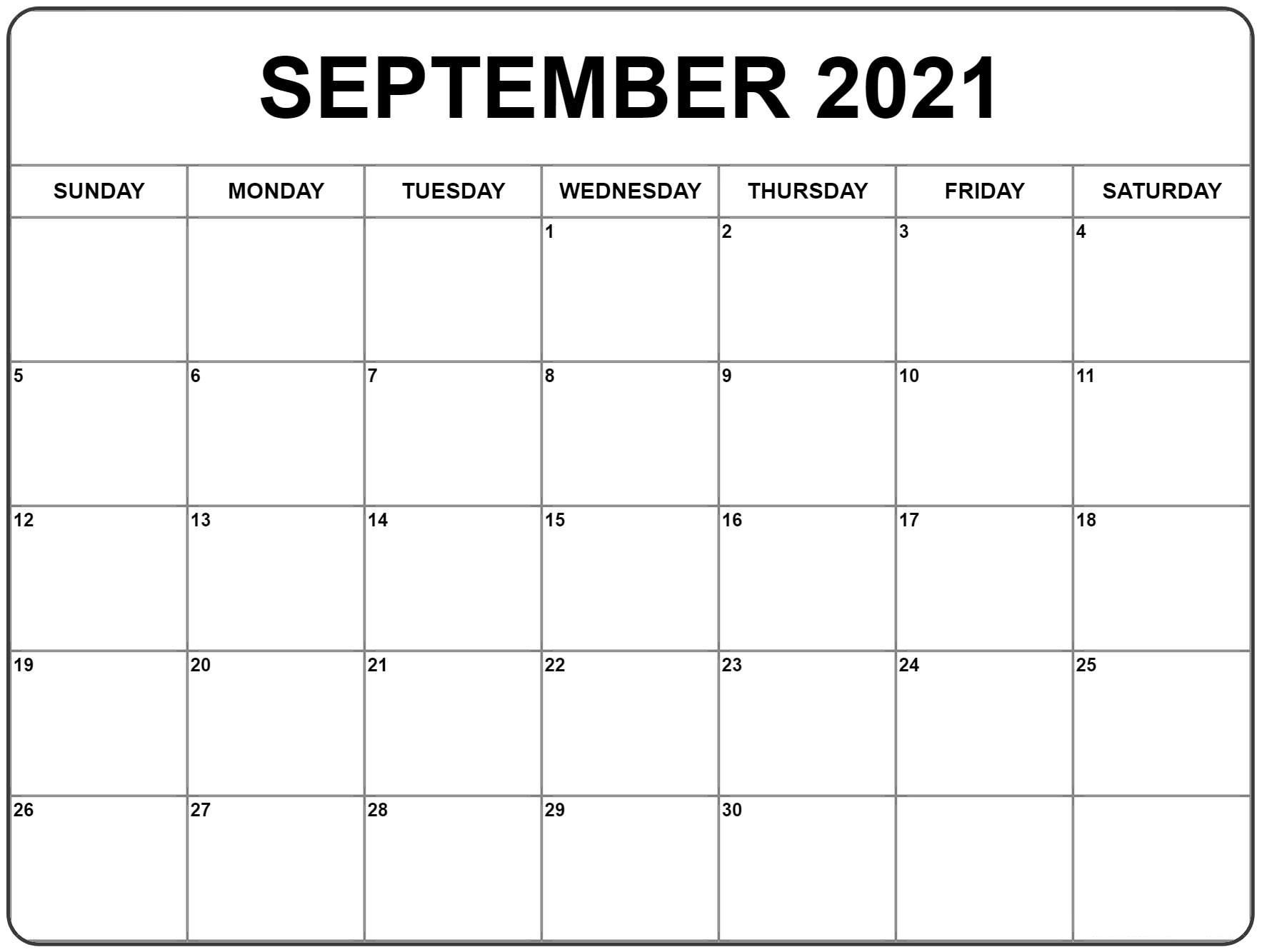 September 2021 Calendar | Monthly Calendar Printable