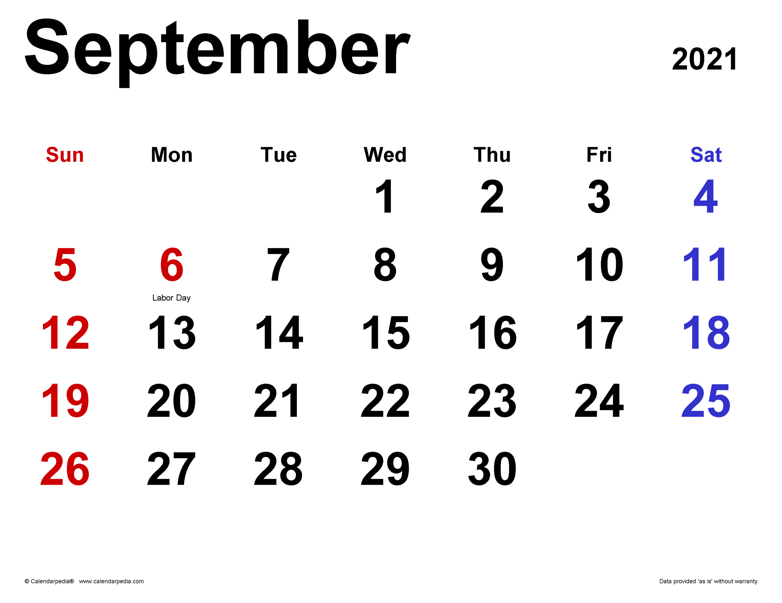 September 2021 Calendar | Templates For Word Excel And Pdf