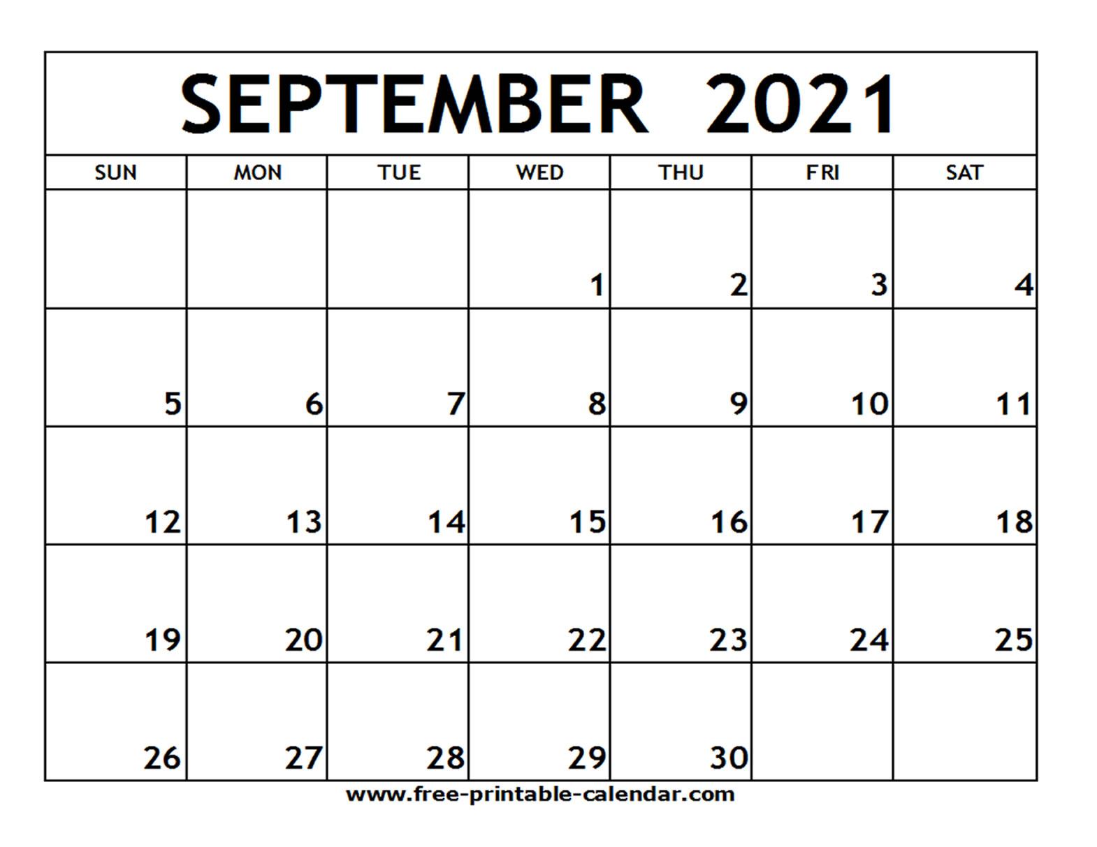 September 2021 Printable Calendar - Free-Printable-Calendar