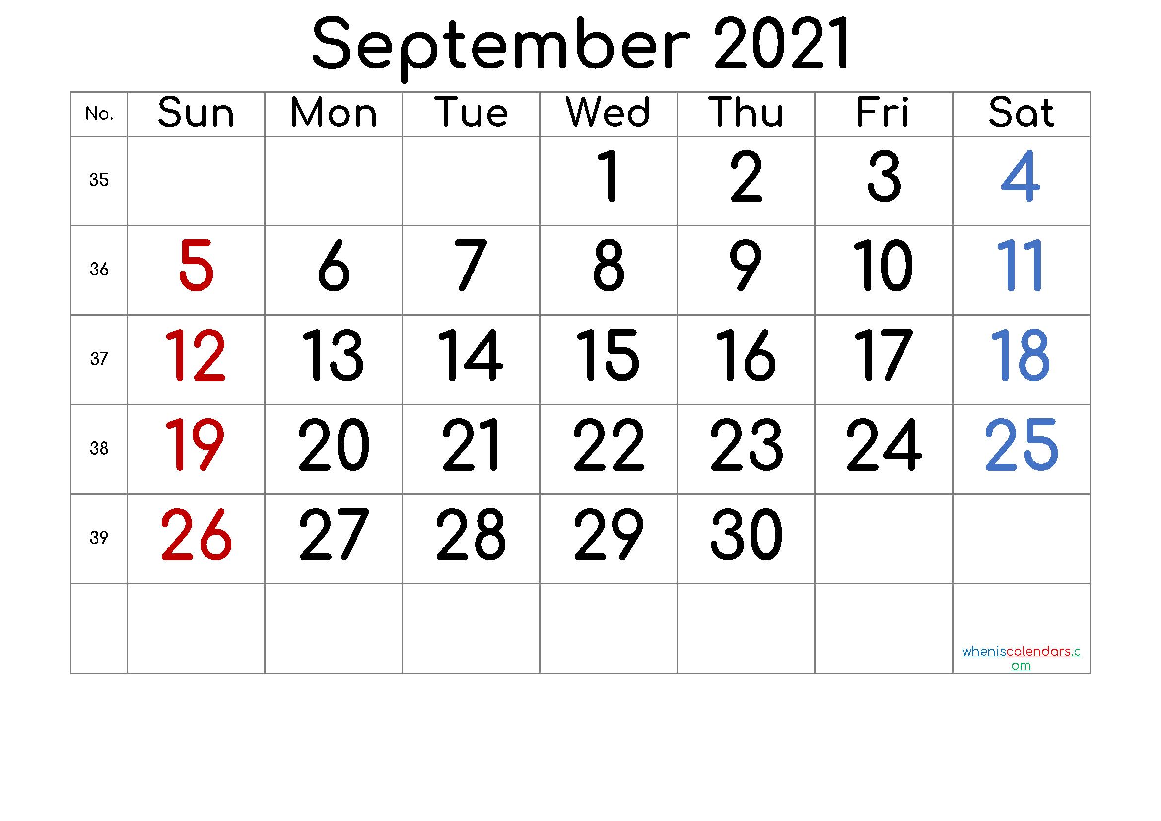 September 2021 Printable Calendar With Week Numbers [Free