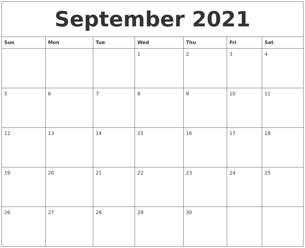September 2021 Printable December Calendar