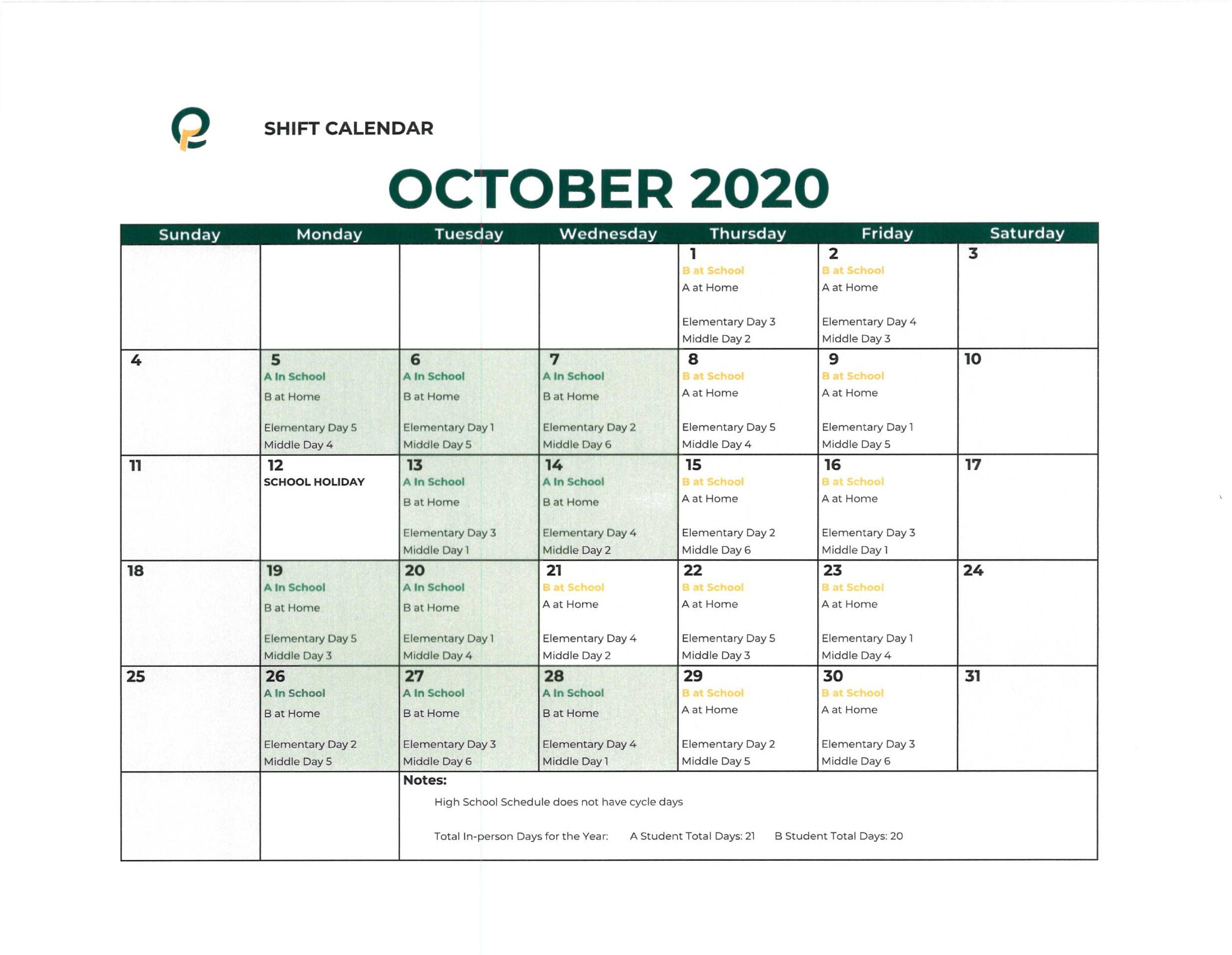 Shift Calendar For Hybrid Students