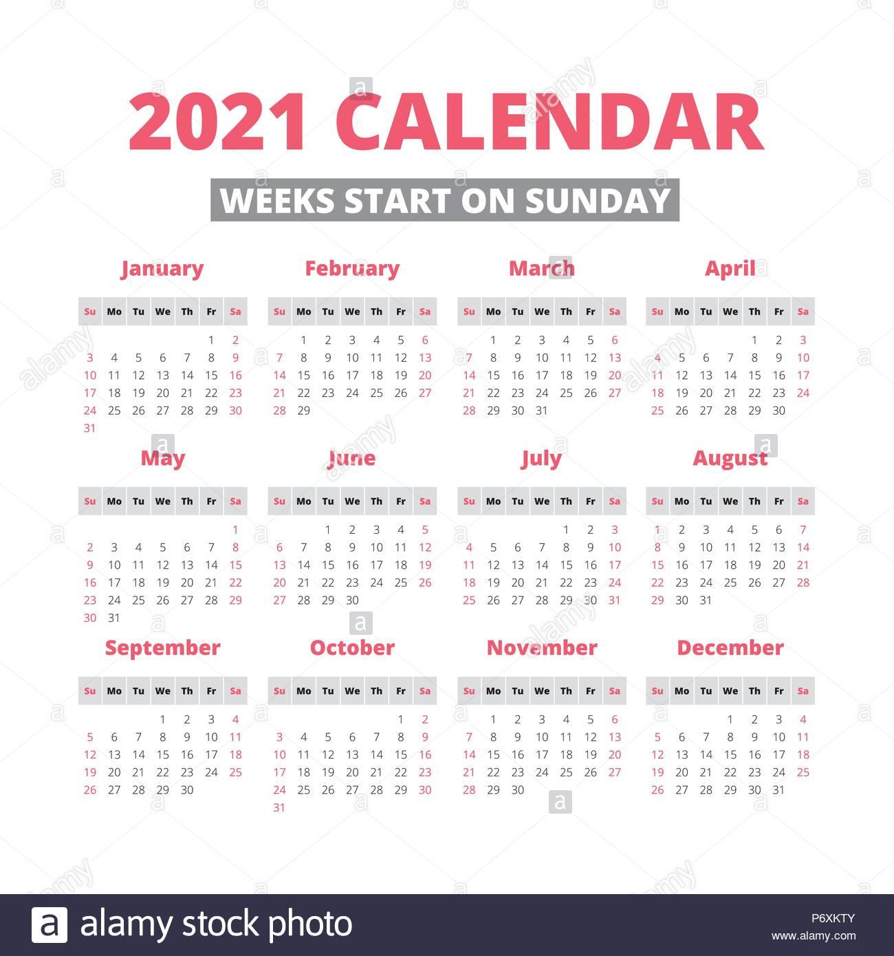 Simple 2021 Year Calendar Week Starts On Sunday Stock