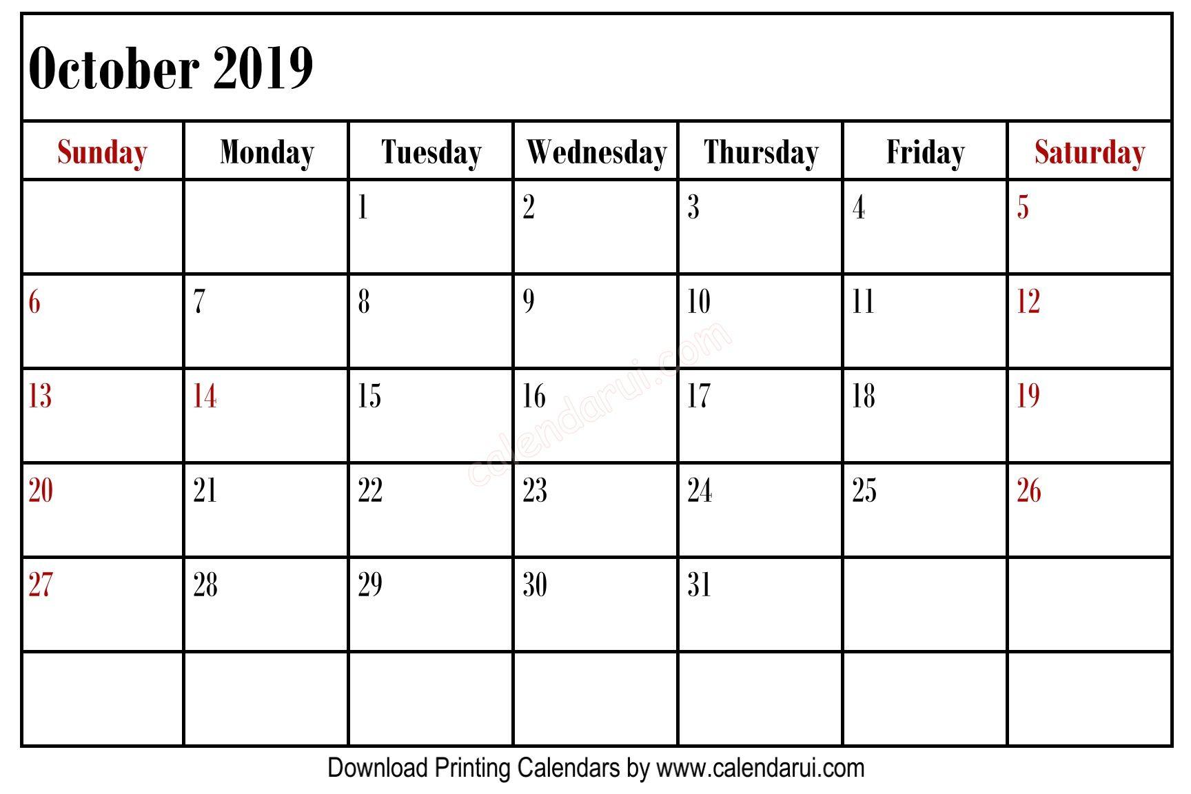 Simple Blank October 2019 Calendar Printable Best Free Left