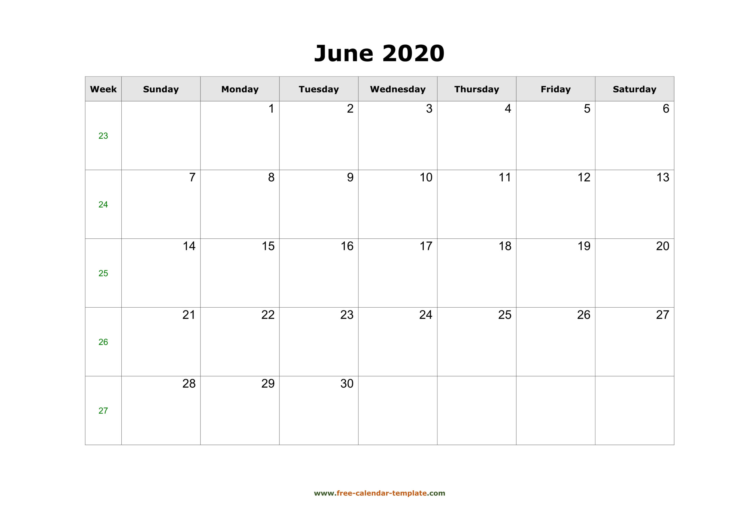 Simple June Calendar 2020 Large Box On Each Day For Notes