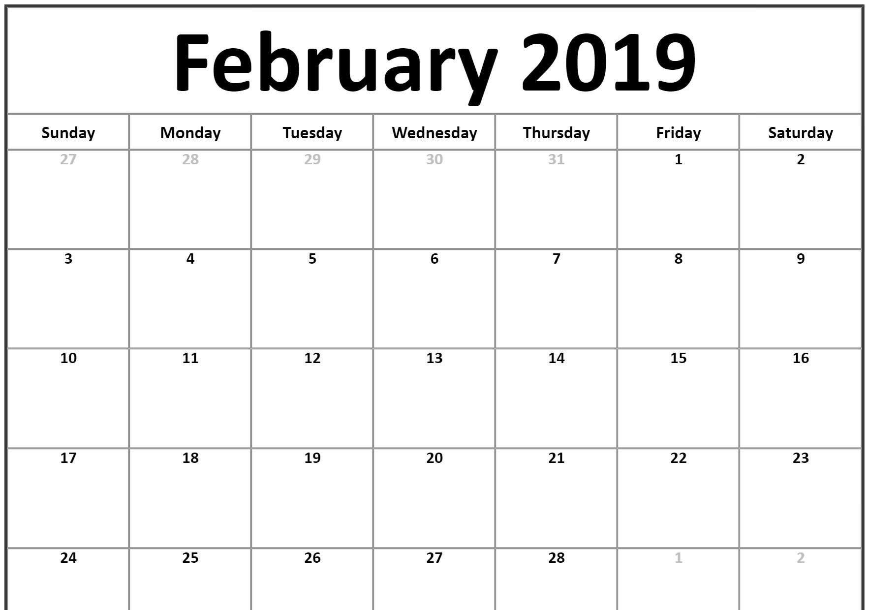 Small 2019 February Printable Calendar #Landscape