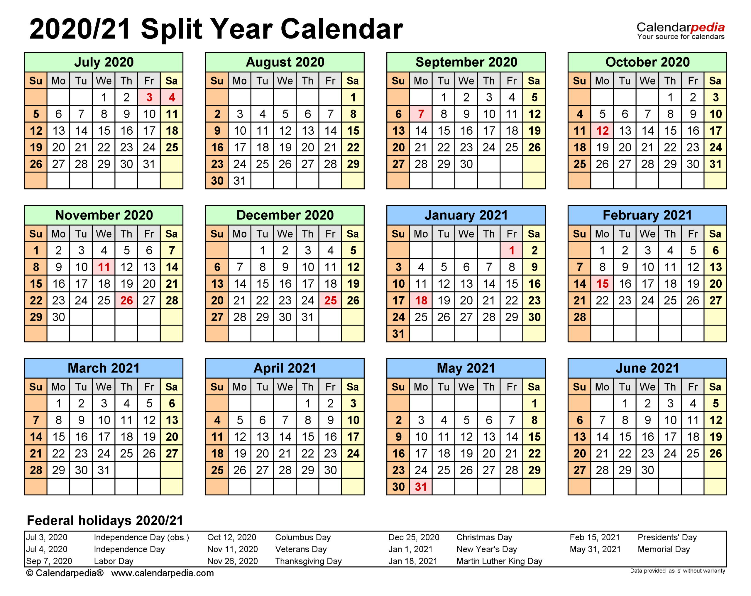 Split Year Calendars 20202021 (July To June) - Excel Templates