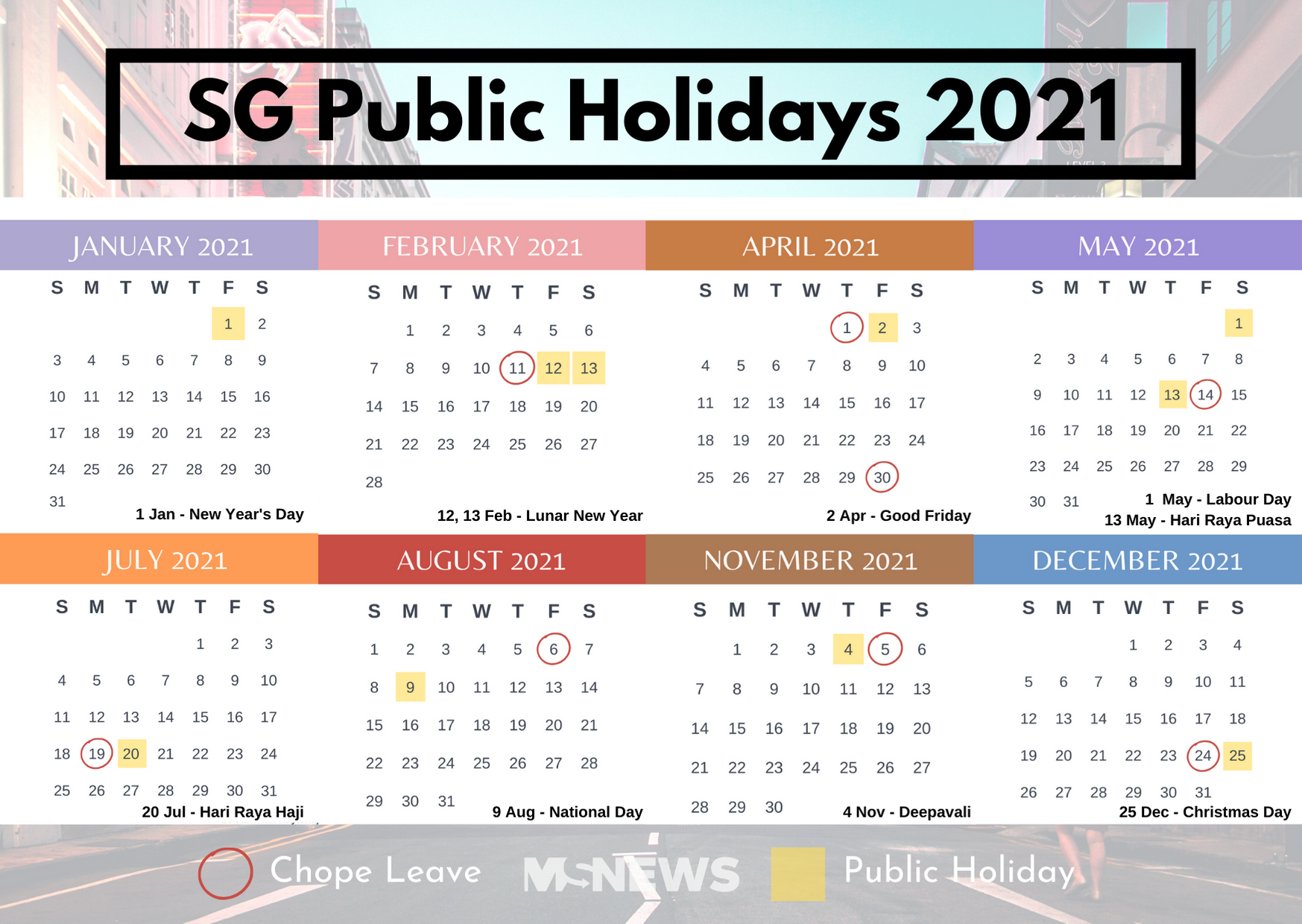 S'Pore Public Holidays 2021 Will Give You 9 Long Weekends