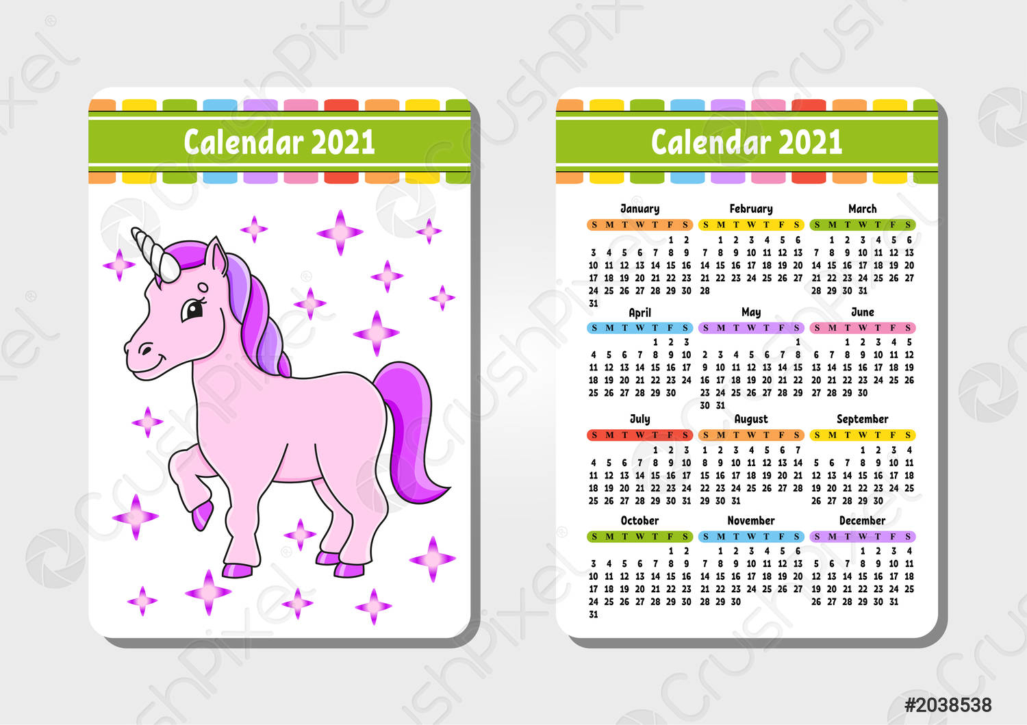 Stock Vector - Calendar For 2021 With A Cute Character Magical Unicorn  Pocket Size Fun And Bright Design Color Isolated Vector Illustration  Cartoon