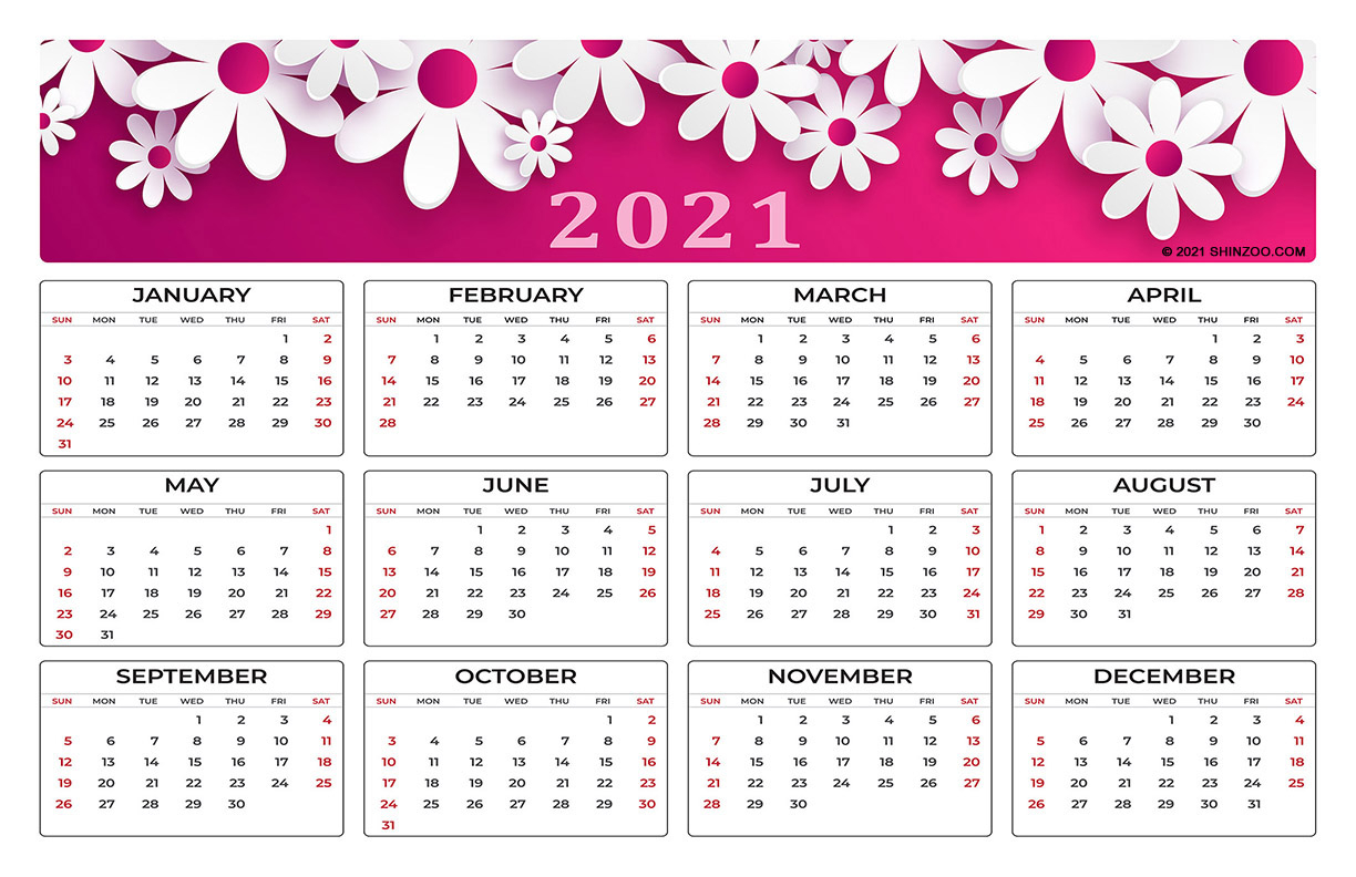 Symbolic White Flowers On Pink Background: 2021 Calendar