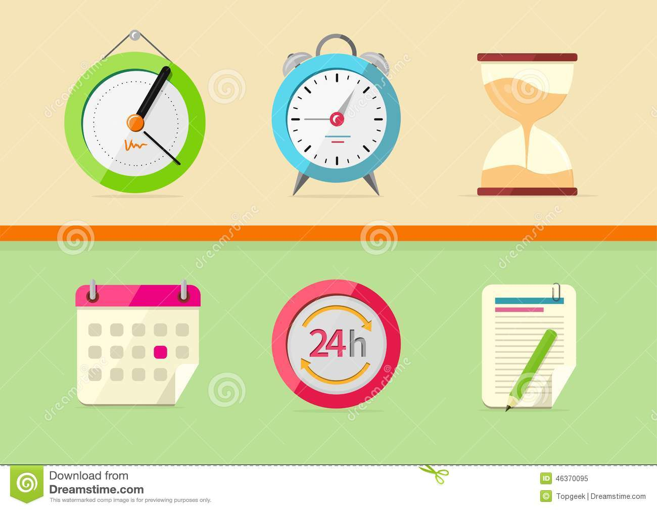 Time And Date Icons Stock Vector. Illustration Of Collection