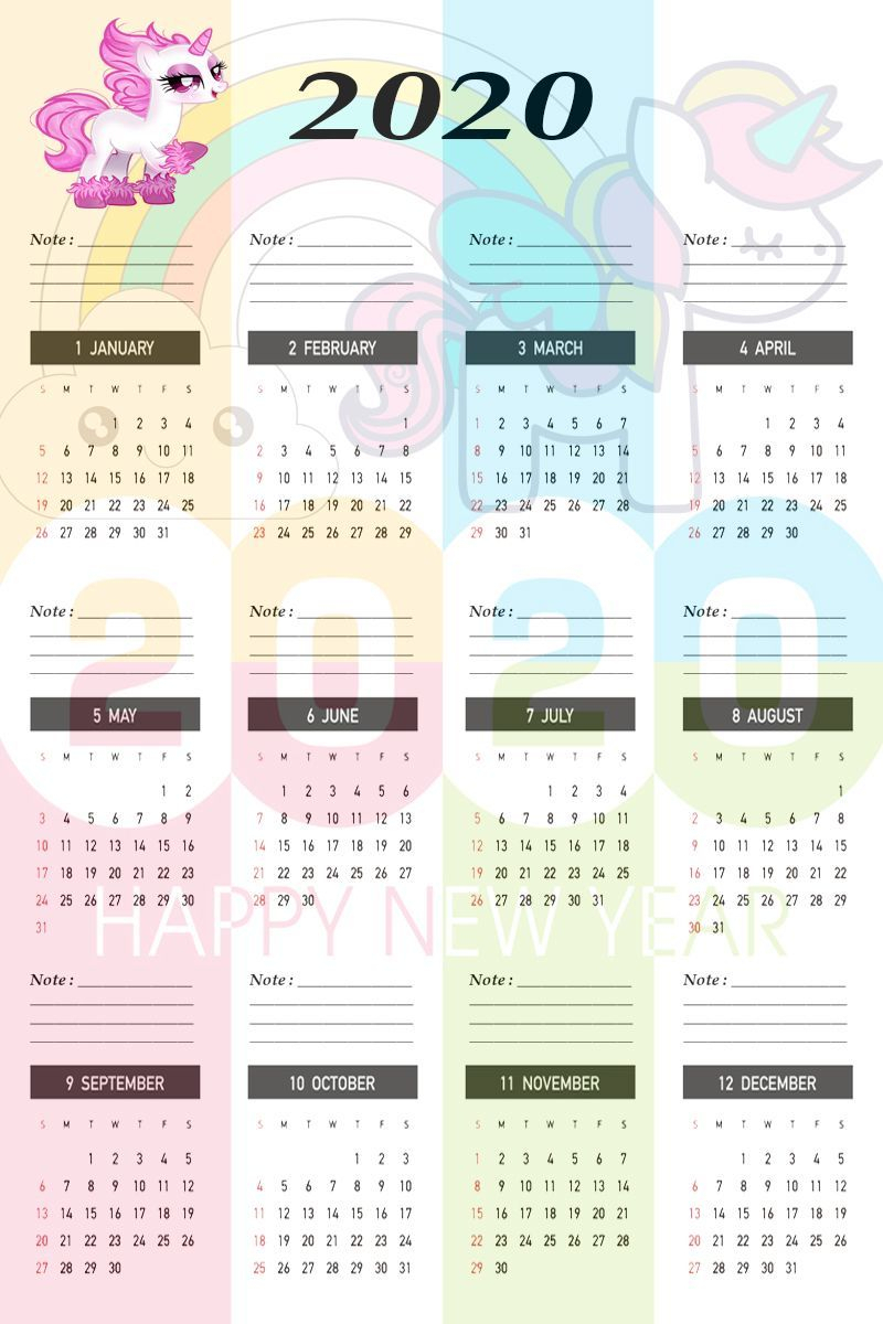 Unicorn Calendar Template 2020 #Calendar