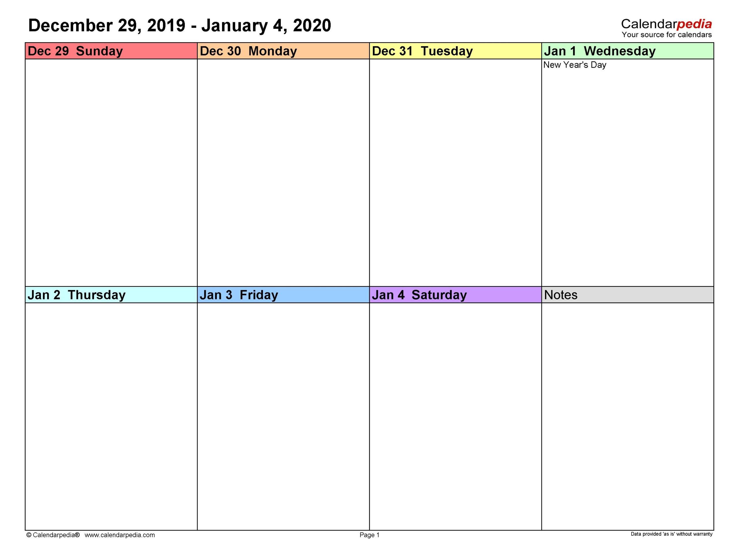 Universal Blank 2 Week Calendar In 2020 | Free Calendar
