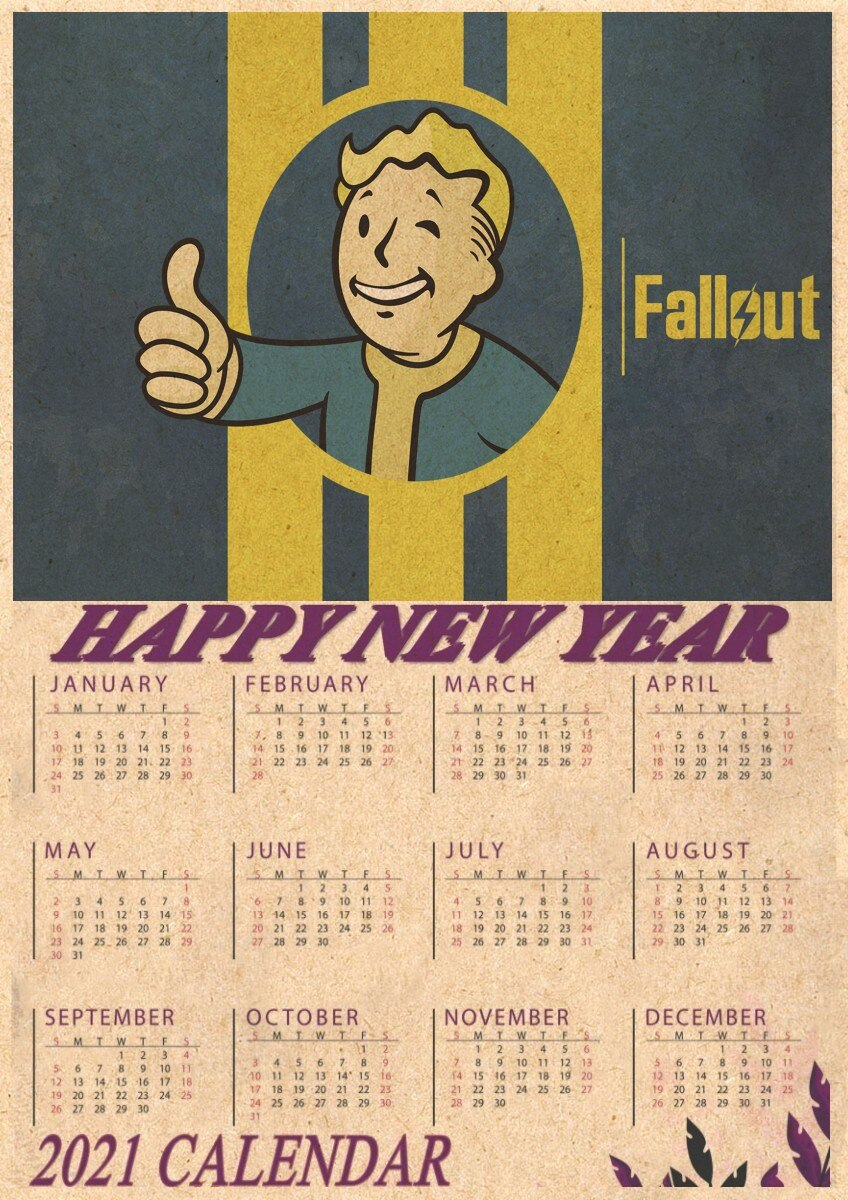 Us $1.66 7% Off|Fallout 3 4 Game Poster Fallout Series Game Retro 2021  Calendar Poster Retro Kraft Paper Bar Cafe Home Decor Painting|Wall  Stickers| -