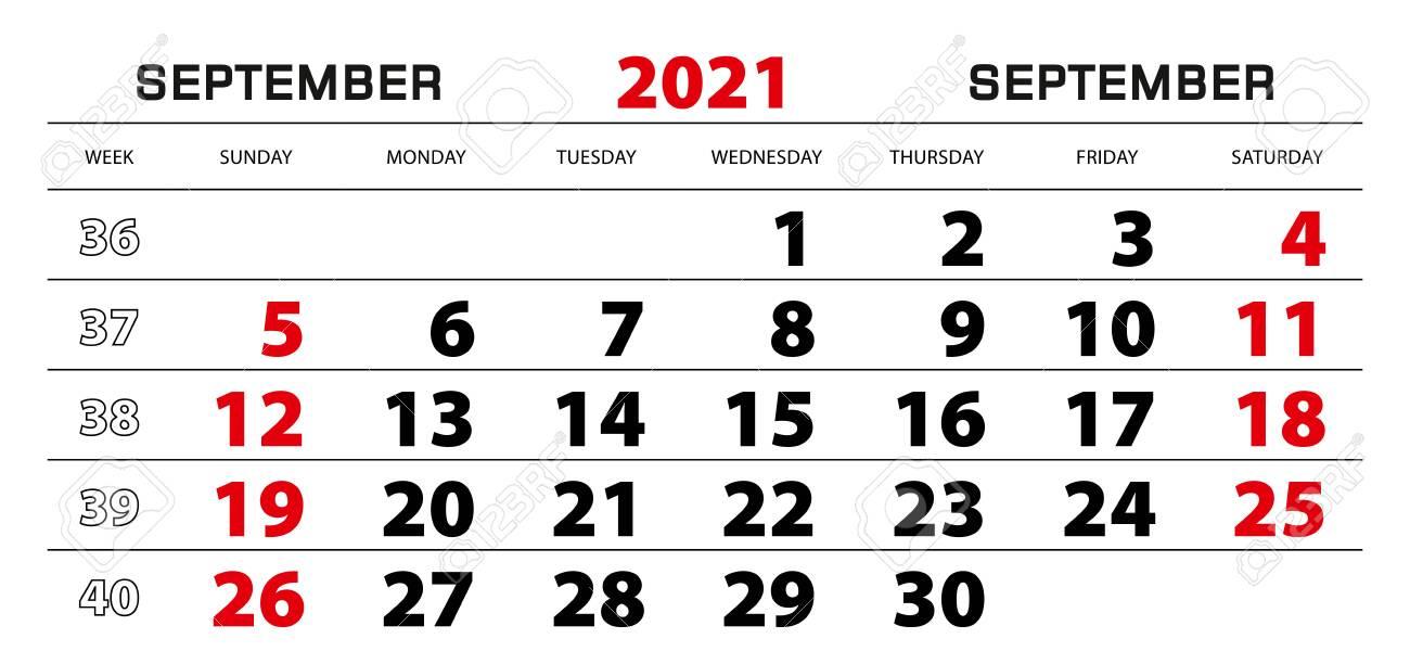 Wall Calendar 2021 For September Week Start From Sunday. Block..