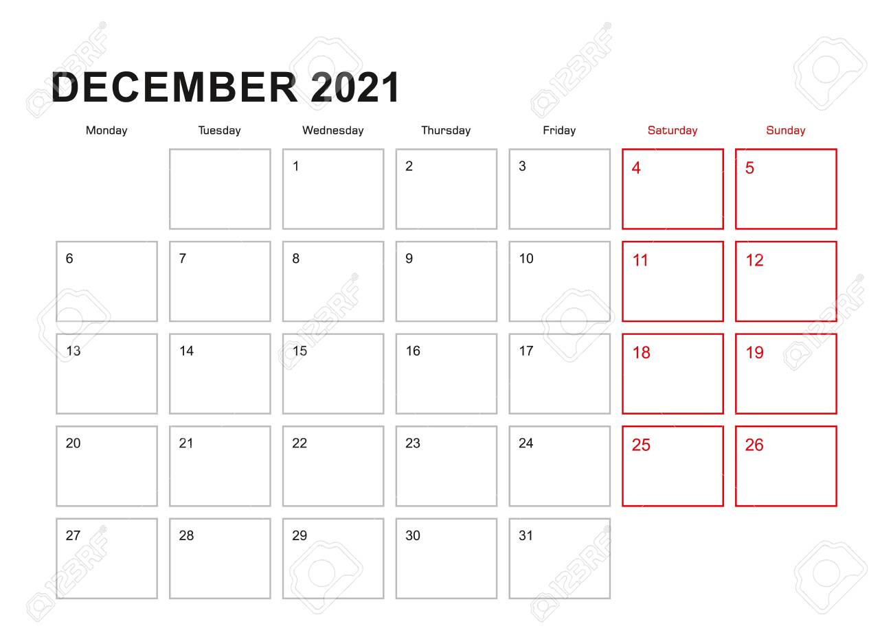 Wall Planner For December 2021 In English Language Week Starts..