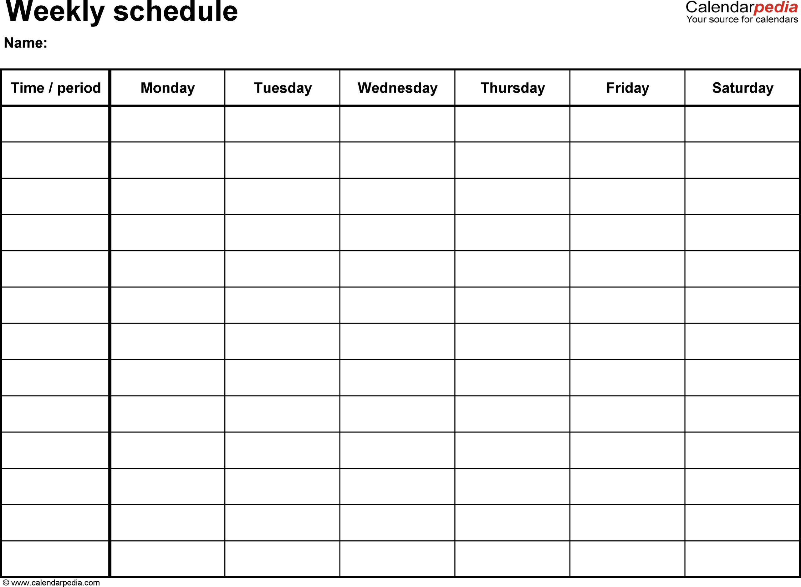 Fillabe 1 Week Calendar