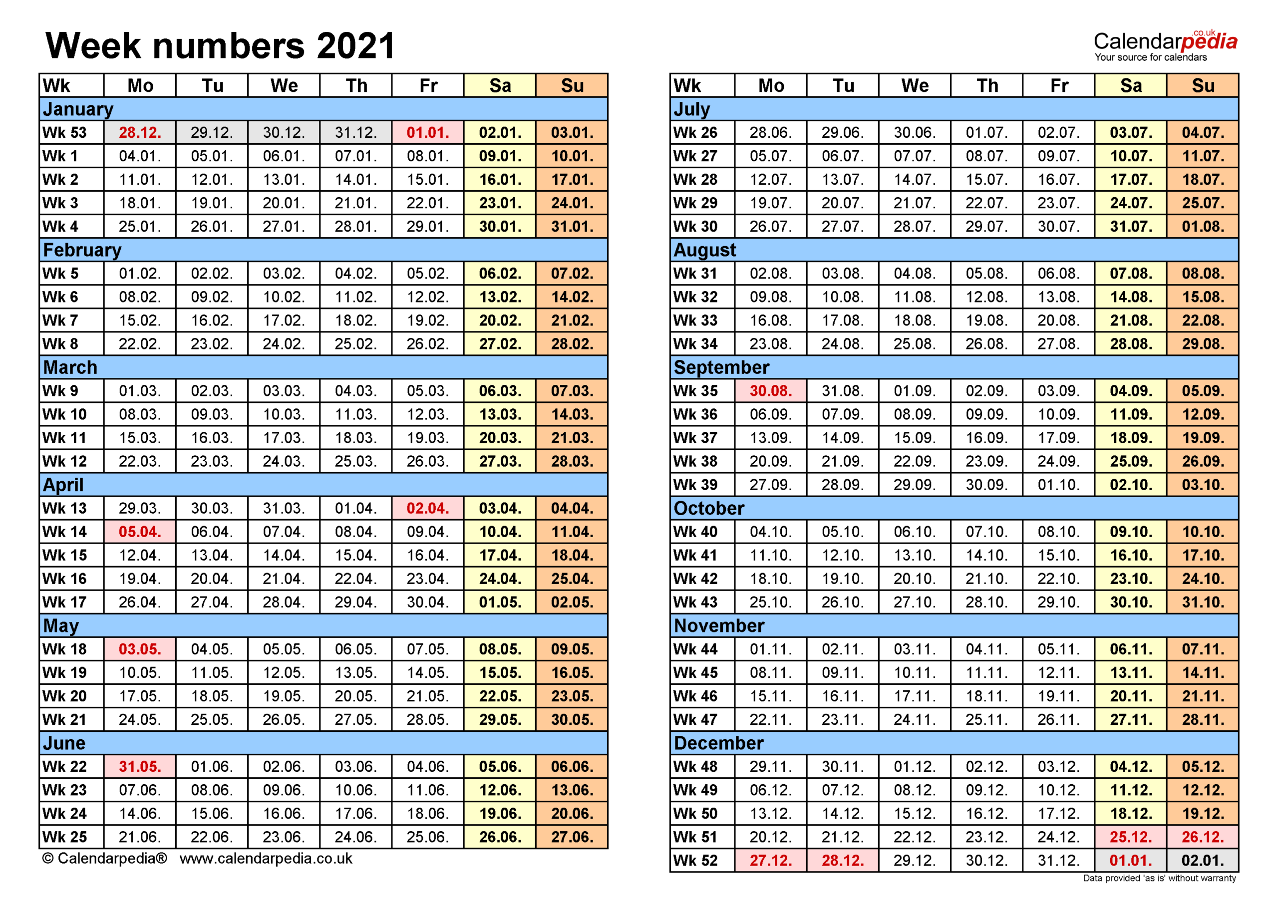 Week Numbers 2021 With Excel Word And Pdf Templates