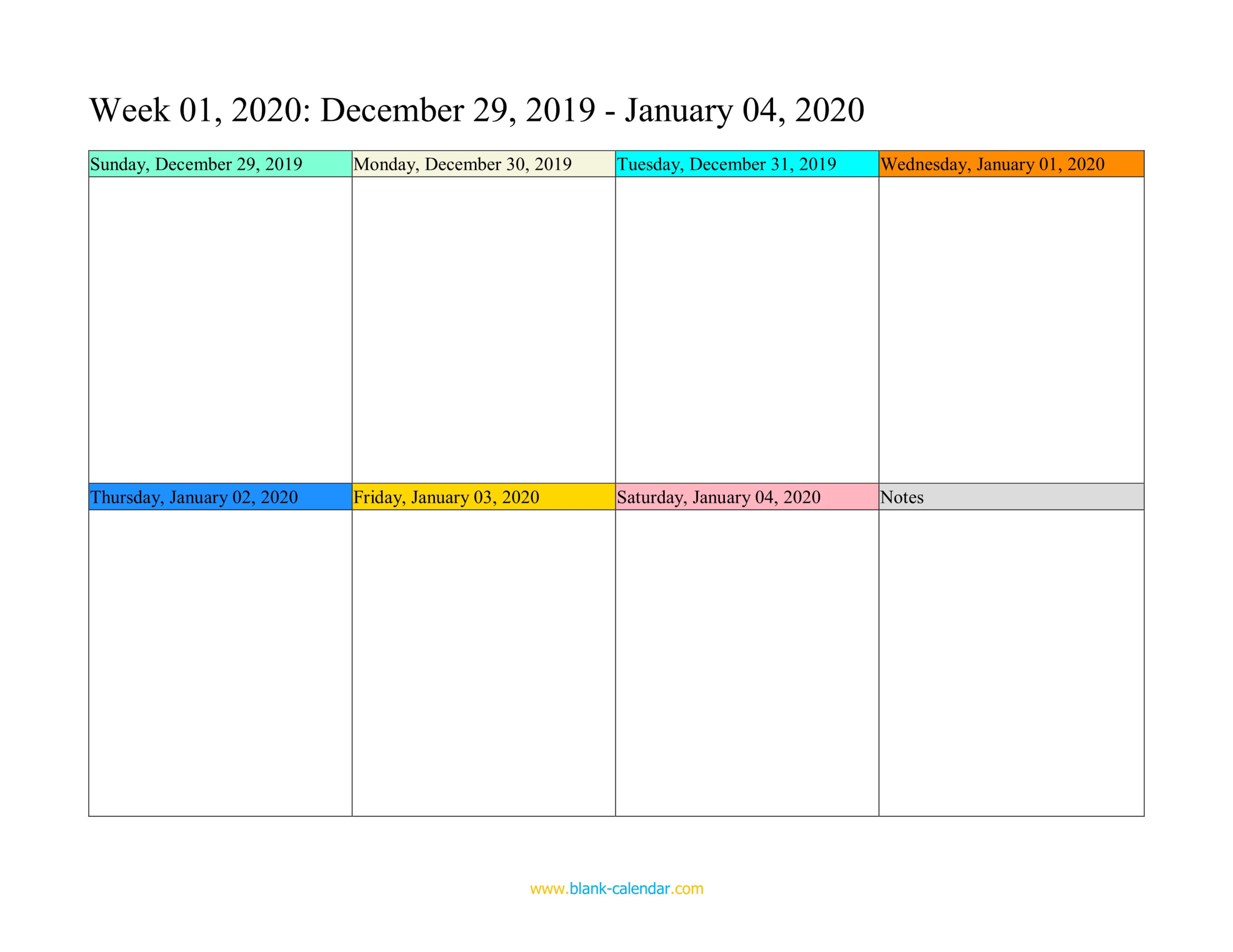 Weekly Calendar 2020 (Word Excel Pdf)