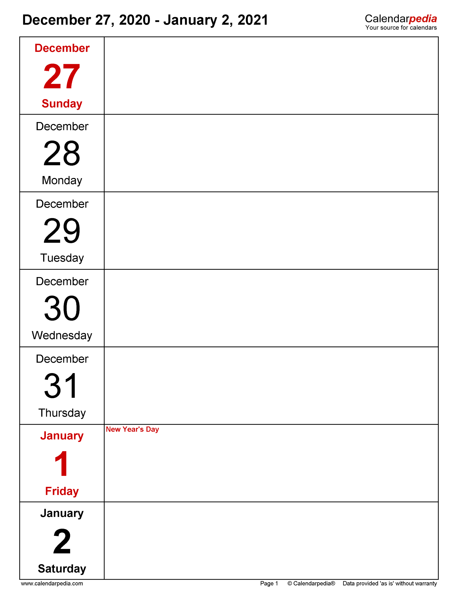 Weekly Calendars 2021 For Pdf - 12 Free Printable Templates