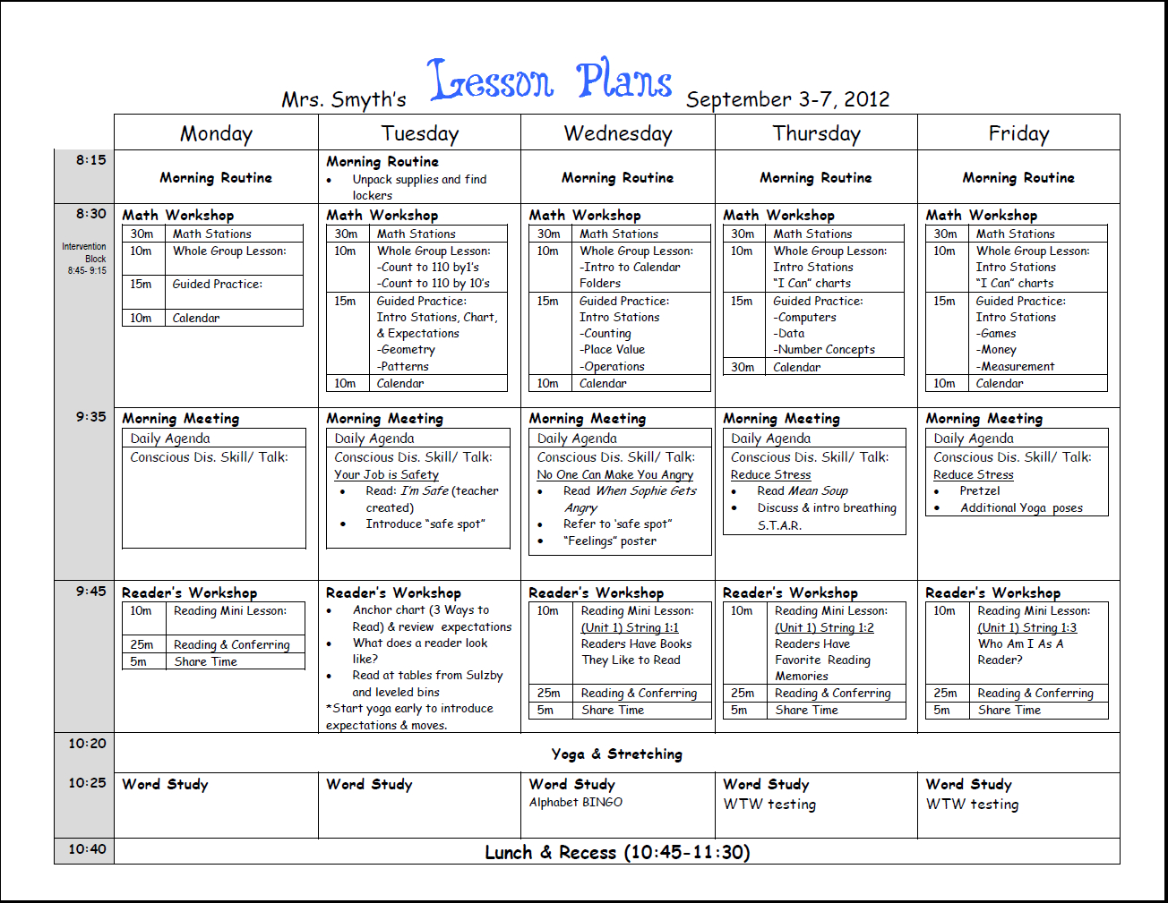 Weekly Lesson Template | Common Core Lesson Plan Template