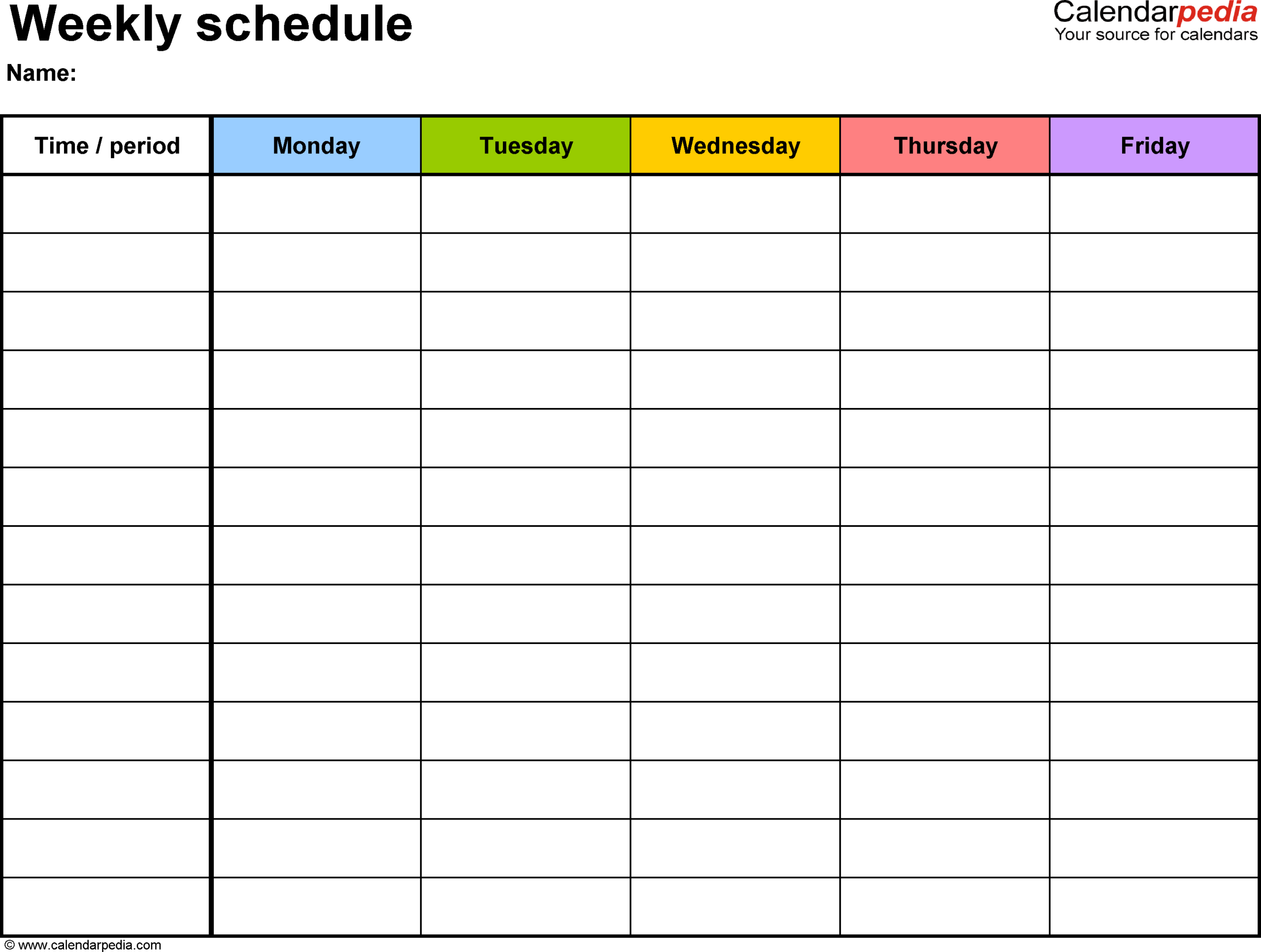 Weekly Schedule Template For Word Version 1: Landscape 1