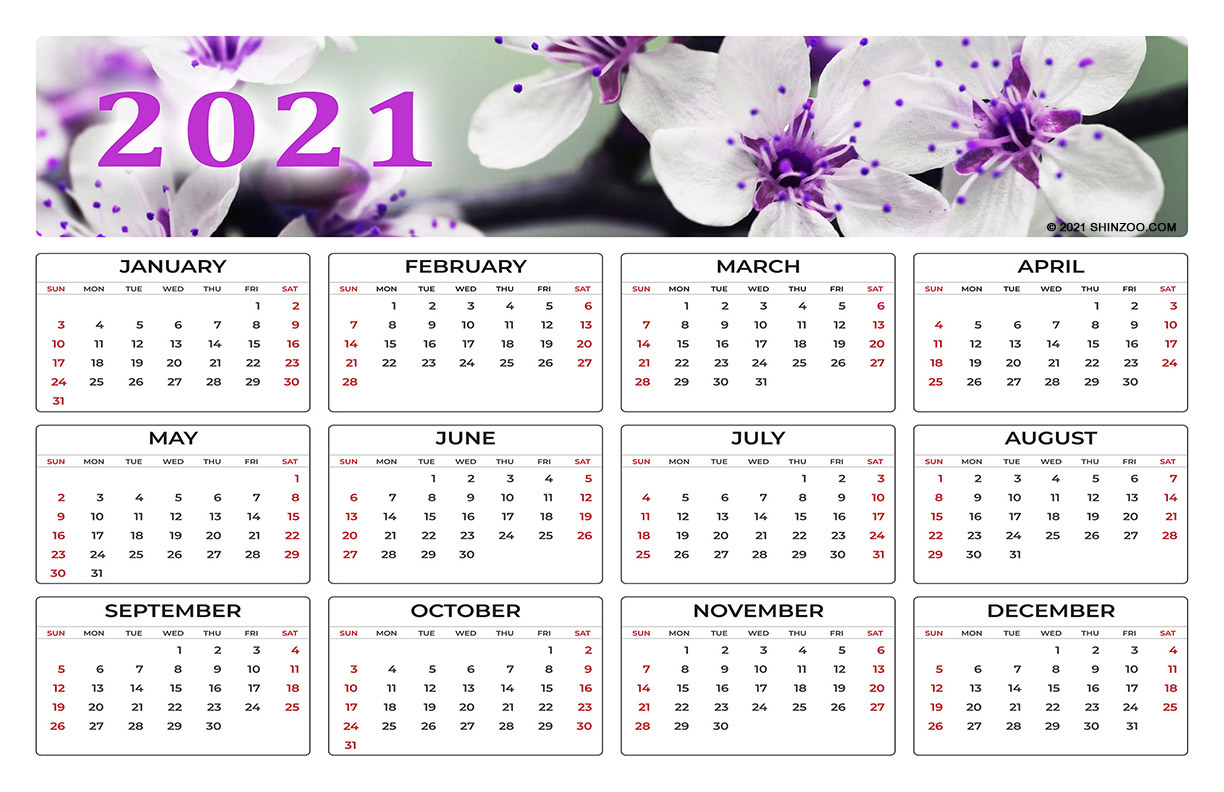 White Flowers In Spring: 2021 Calendar 11X17 Printable Template
