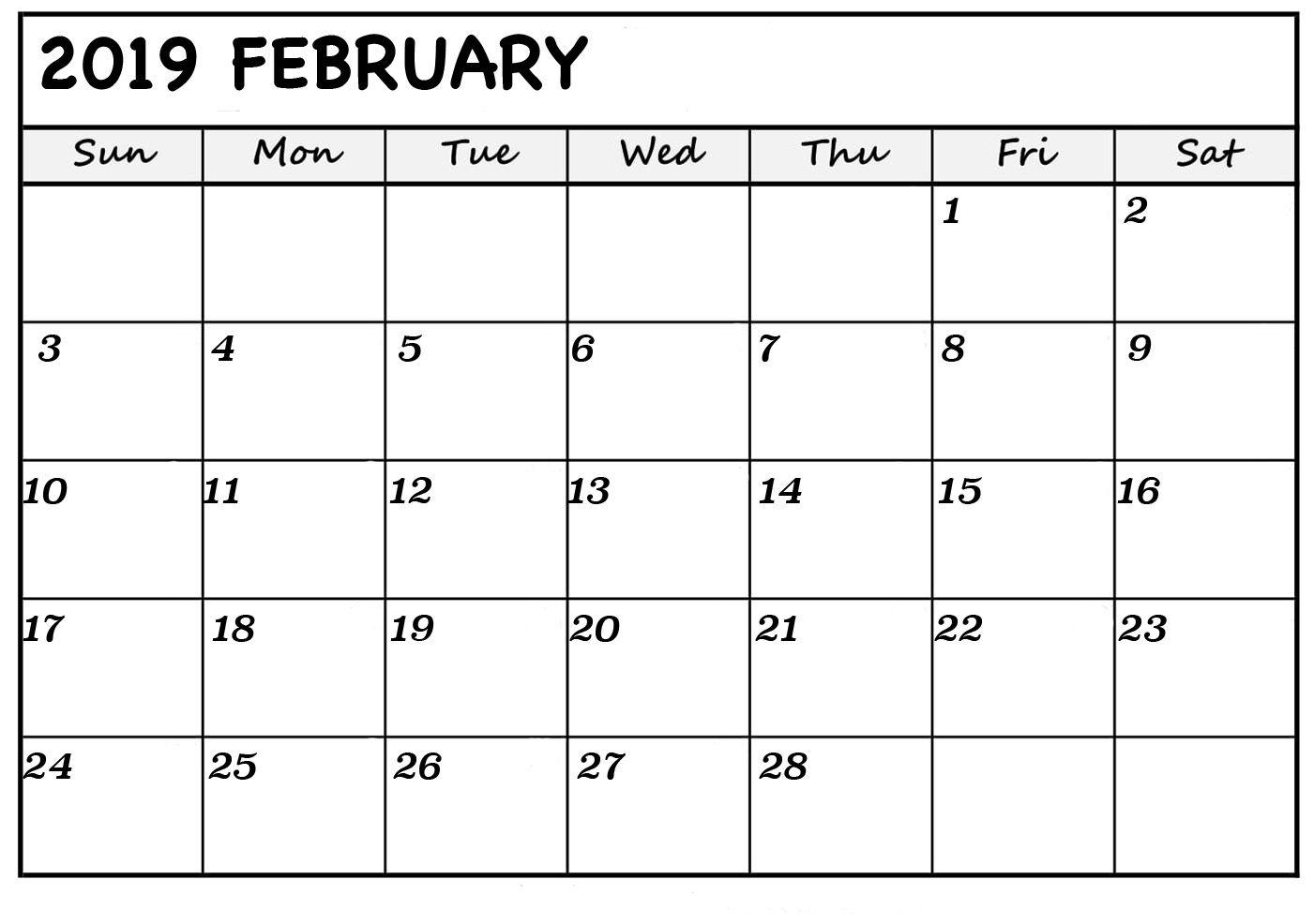 Win Calendar February 2019 | Calendar Creative Printable
