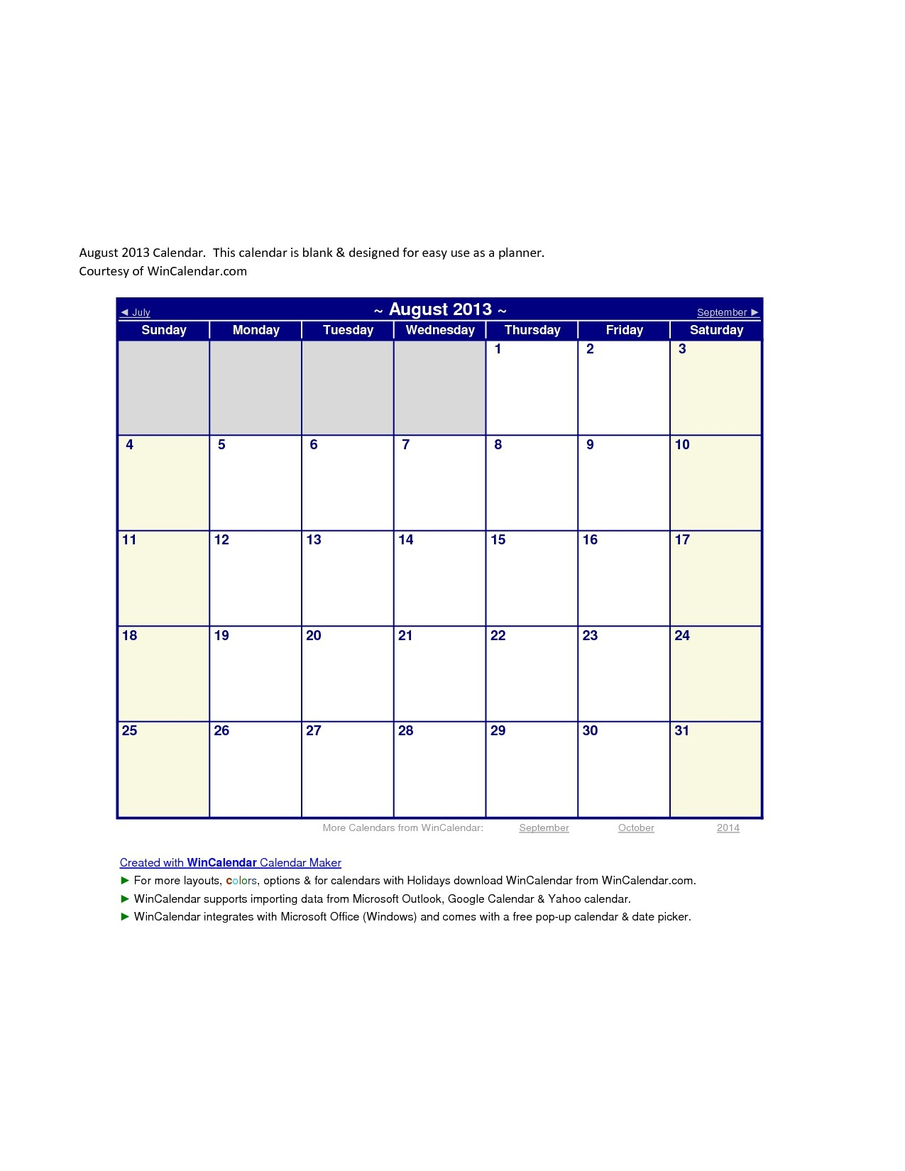 Wincalendar Printable Calendar | Free Printable Calendar Monthly