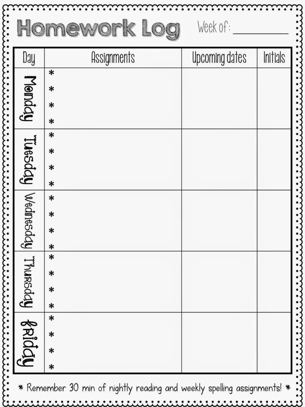 Worksheet ~ Homework Logs Sheet Log 1St Grade Preschool