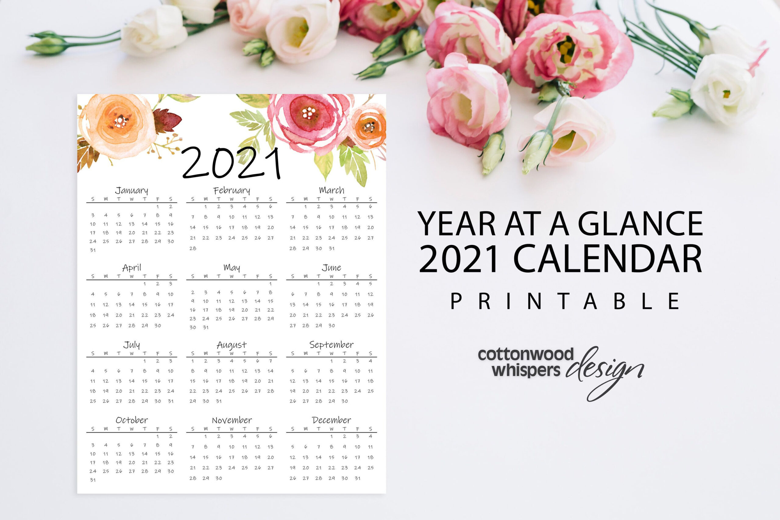 Year At A Glance Calendar 2021 Printable Calendar Letter