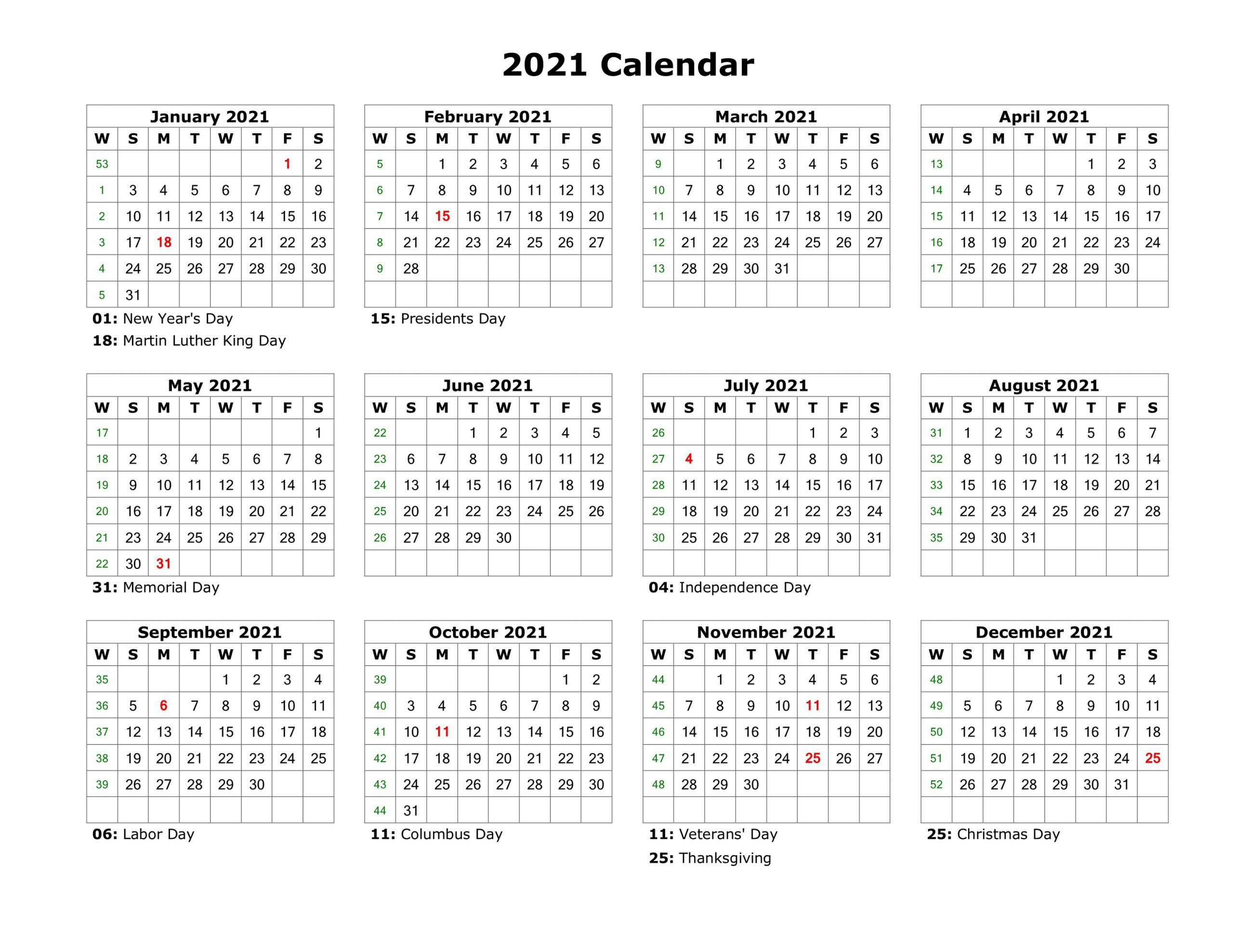 Printable Yearly Calendar 2021 Free
