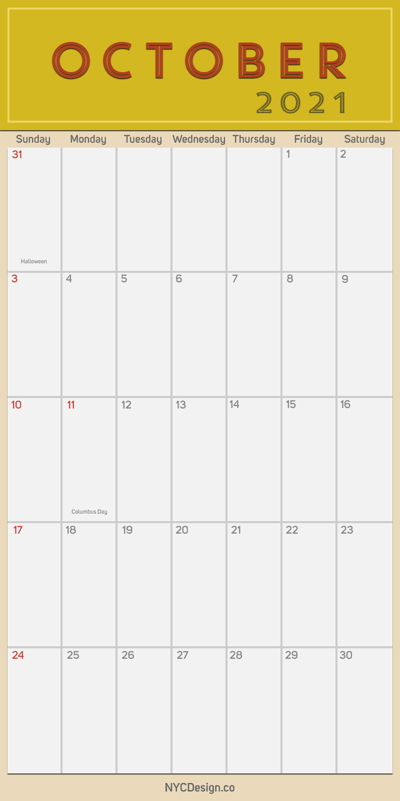 2021 October - Monthly Calendar With Holidays Printable