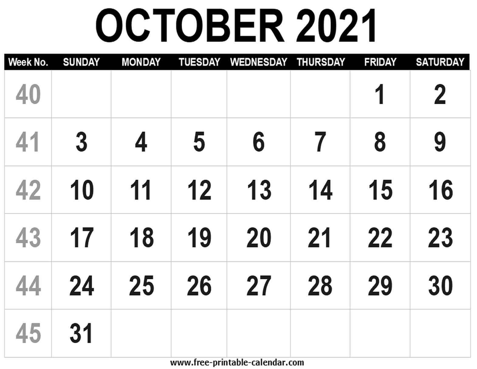 Blank Calendar 2021 October - Free-Printable-Calendar