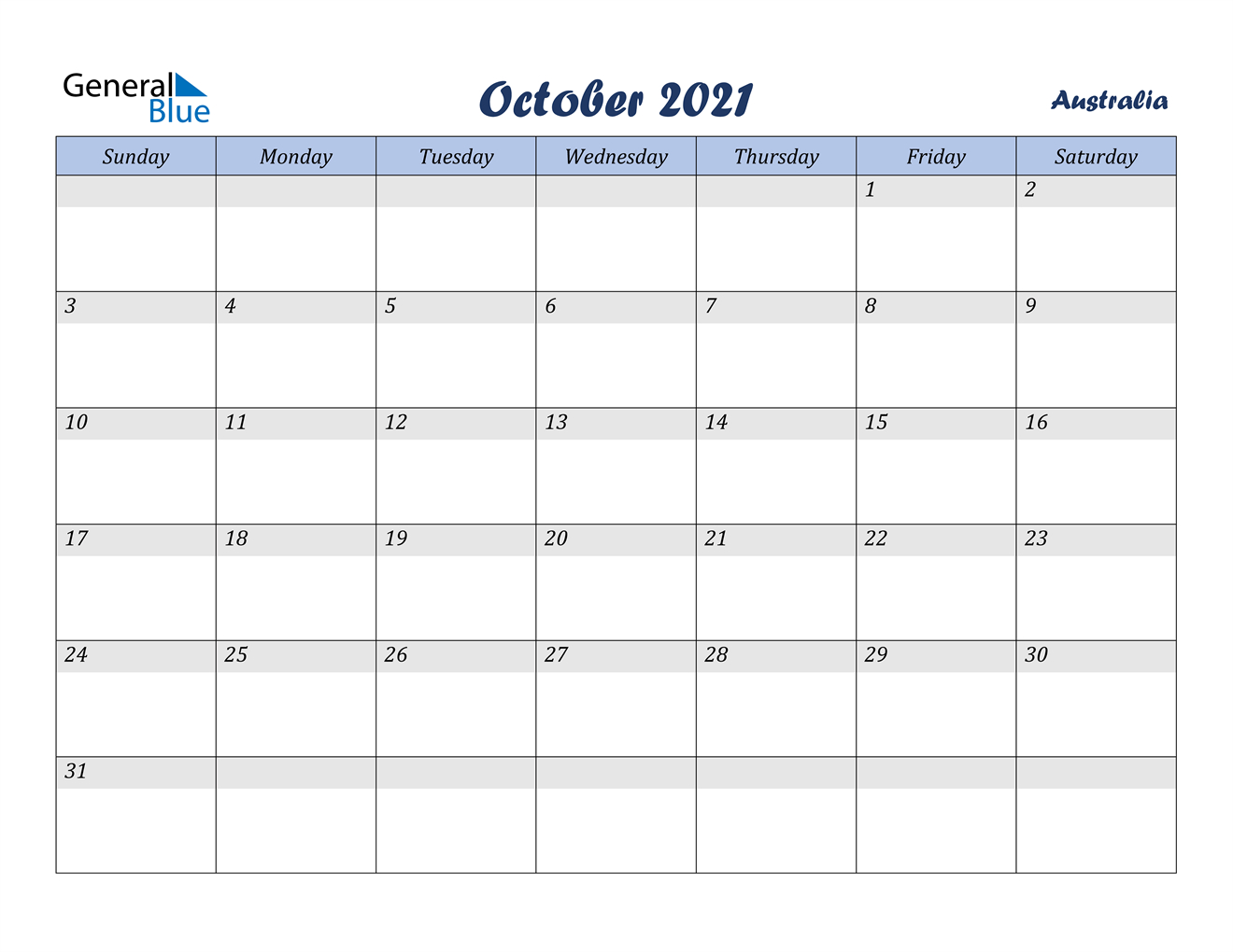 October 2021 Calendar - Australia
