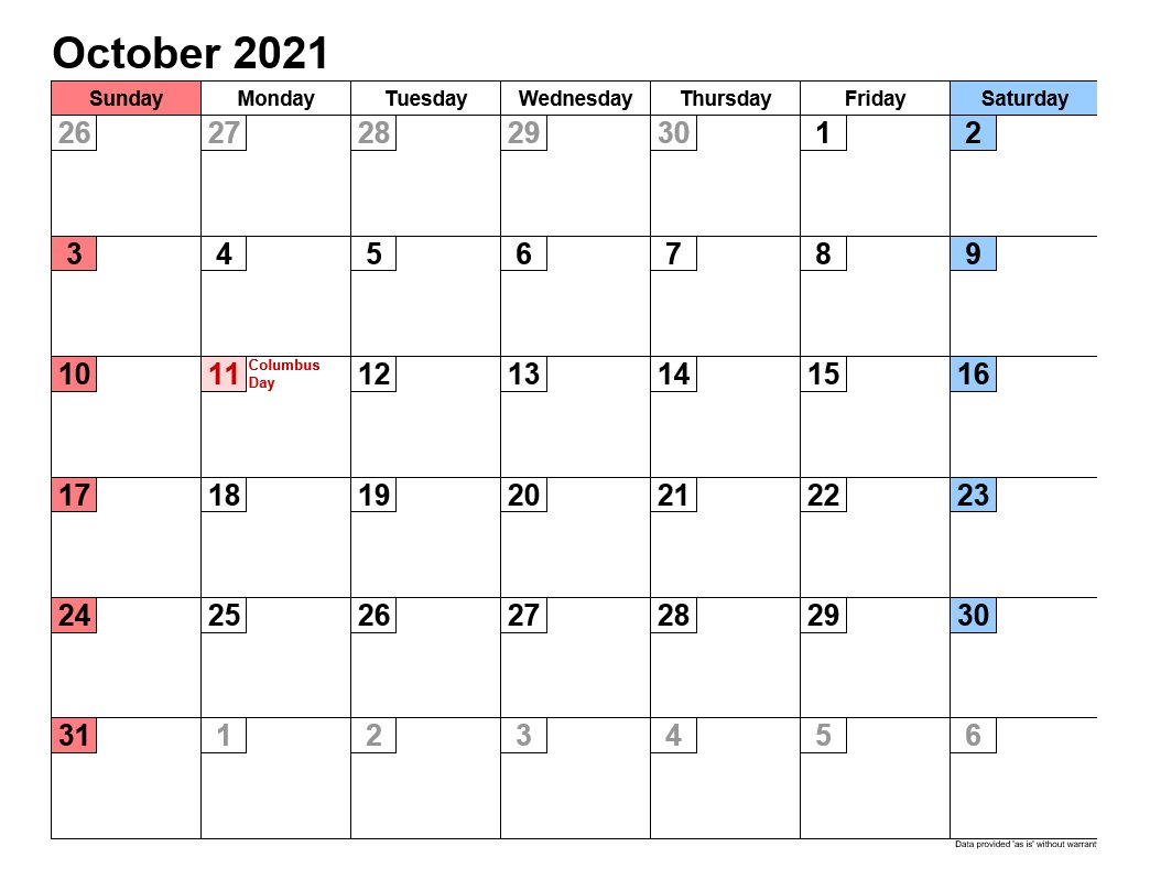 October 2021 Calendars Landscape Format