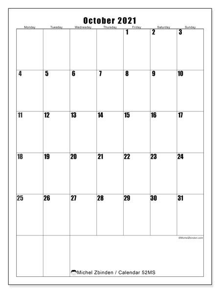 "Printable October 2021 ""52Ms"" Calendar - Michel Zbinden En"