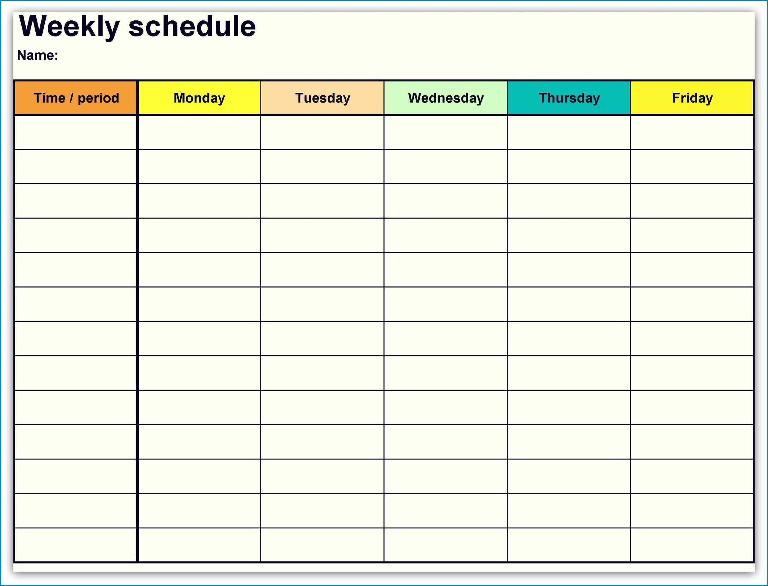 One Week Fillable Calendar