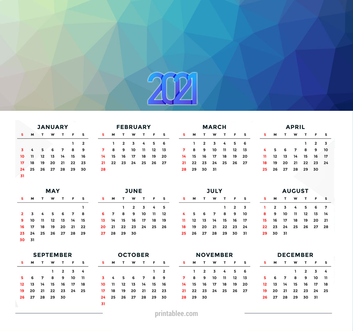 10 Best 2021 Calendar Printable Free - Printablee