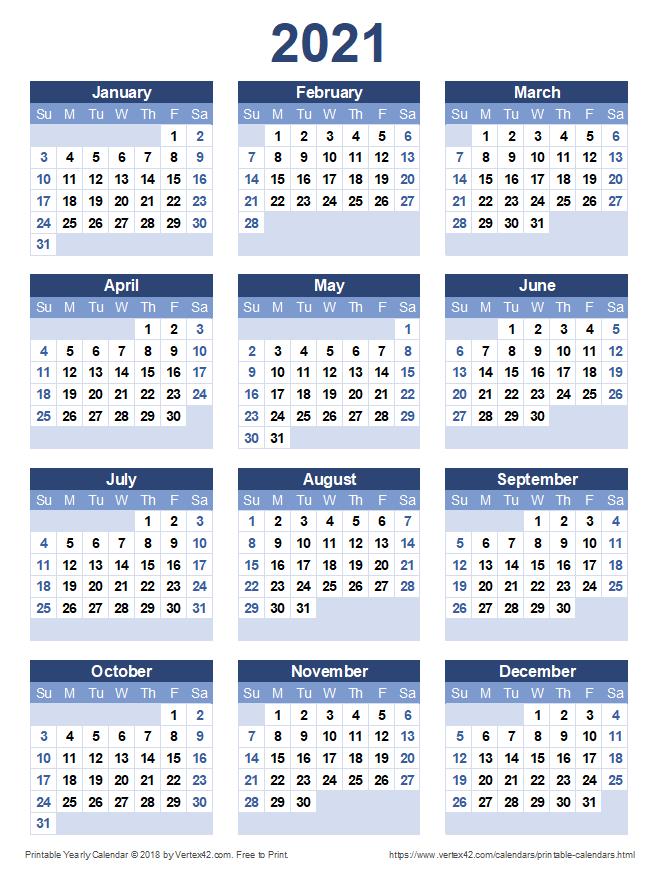 20+ Calendar 2021 To Print - Free Download Printable