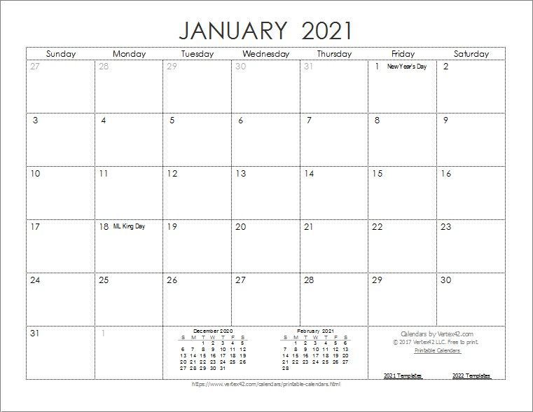 20+ Monthly Calendar 2021 - Free Download Printable