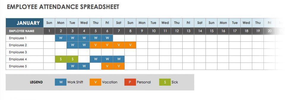 2019 Employee Attendance Calendar Sheet Excel Template